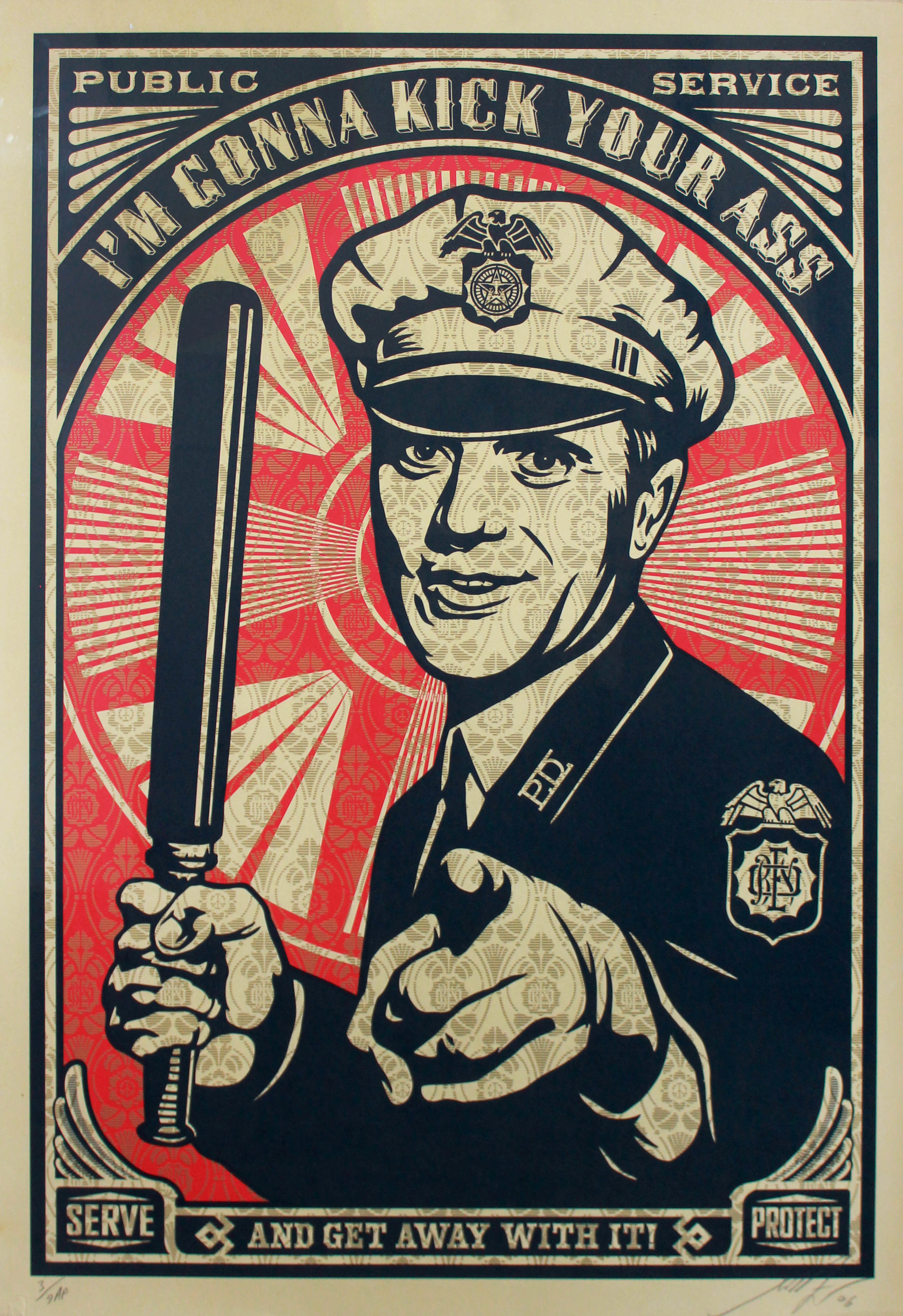 """Shepard Fairey (Born 1970)  Untitled (I'm Gonna Kick Your Ass), 2006 Silkscreen From the Artist Proof edition of 9 Signed, dated and annotated """"#3/9 Artist Proof"""" in pencil on recto Image: 29 x 26.5 inches; Sheet: 41.75 x 28.75 inches; Framed: 51 x 38 inches Estimate: $1,000/$1,500"""