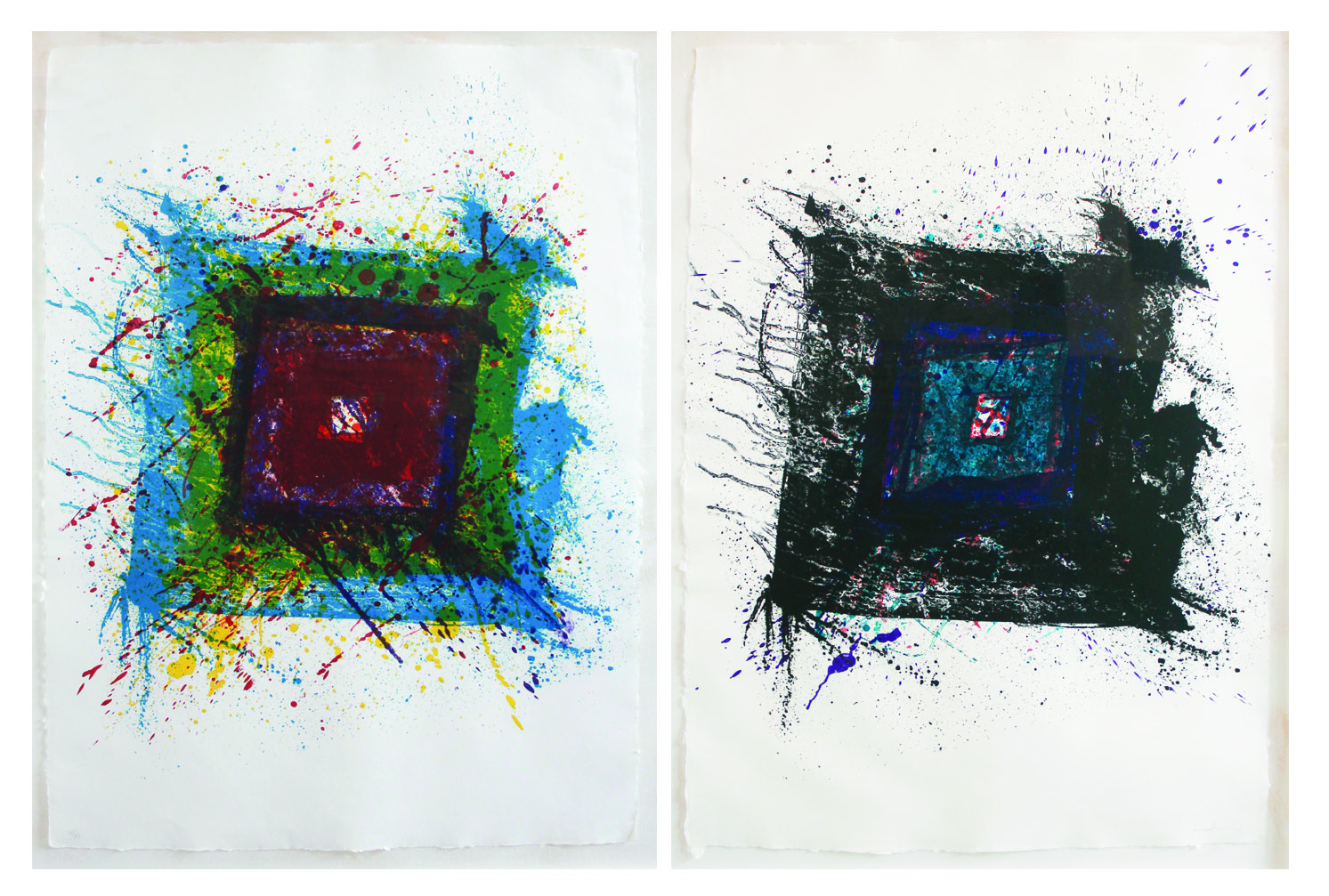 Sam Francis (1923-1944)    Paradise of Ash , 1981 Lithograph on John Koller paper in two panels From the numbered edition of 43 Signed and numbered in pencil on recto Sheet: 46 x 32 inches, each; Framed: 51 x 71.5 inches Estimate: $4,000/$6,000