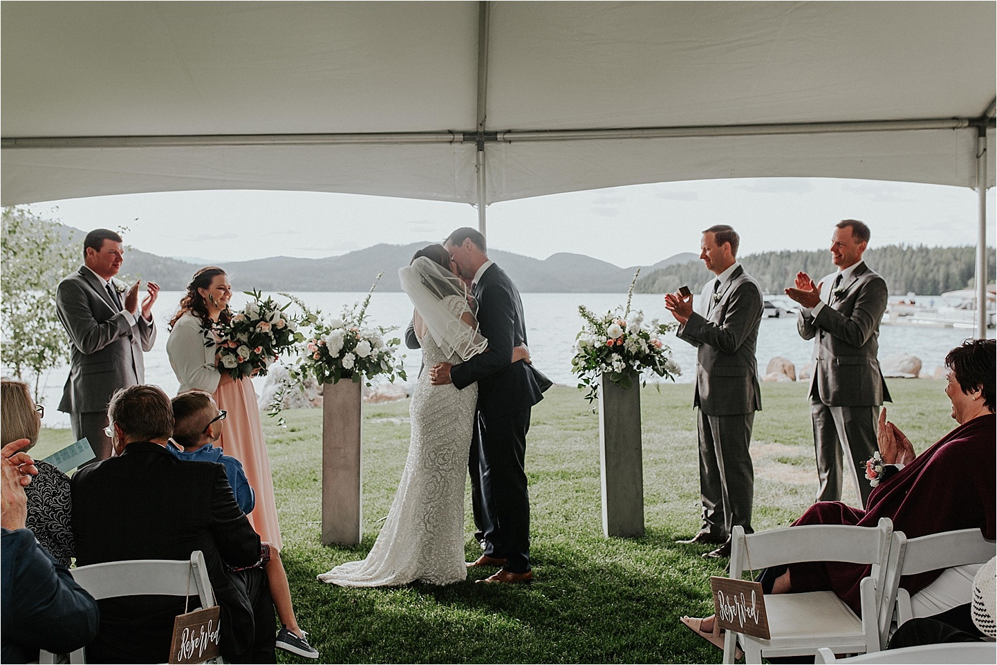 whitefish montana wedding first kiss in whitefish.jpg