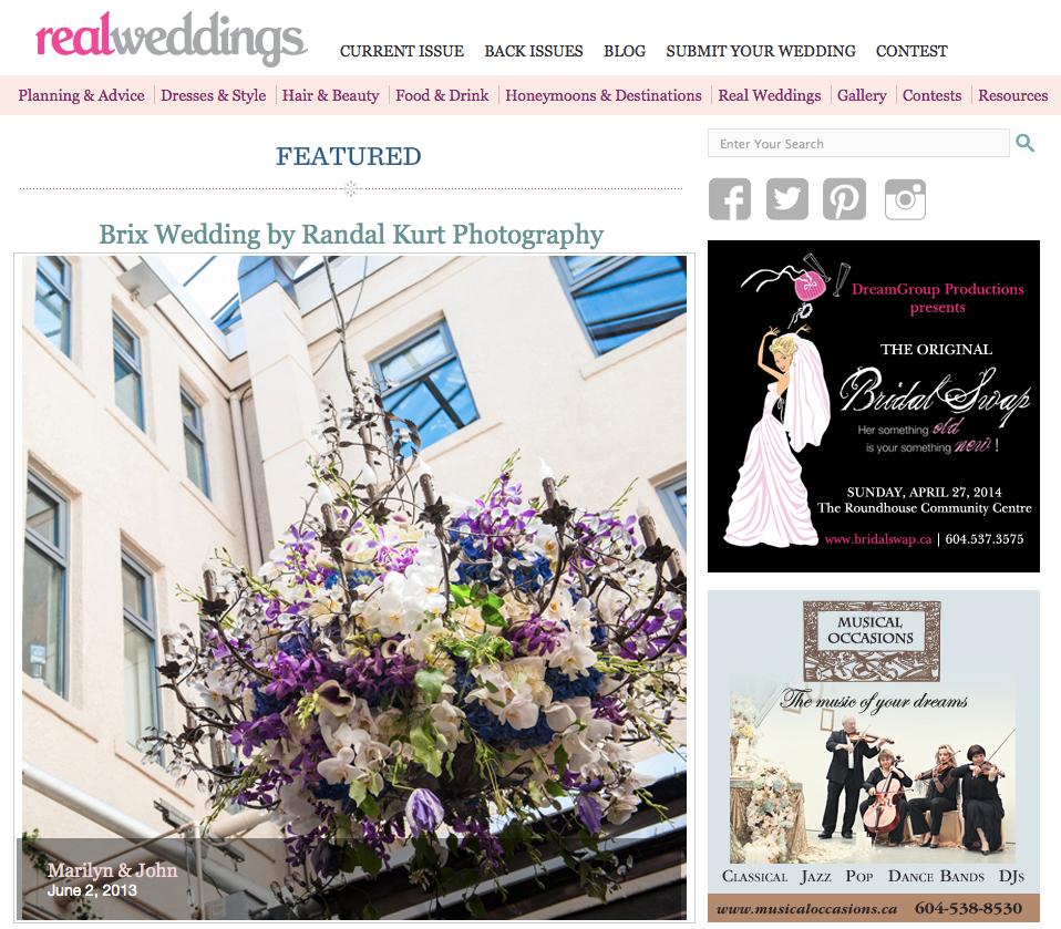 Featured on Real Weddings Blog, Marilyn & John, Brix Restaurant, 2013