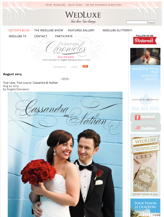 Featured on WedLuxe Magazine's Blog, Cass & Nate, 2013