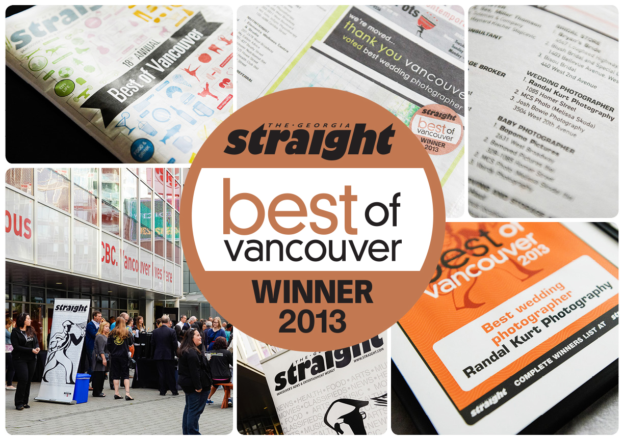Awarded Best Wedding Photographer, The Georgia Straight's Best of Vancouver, 2013