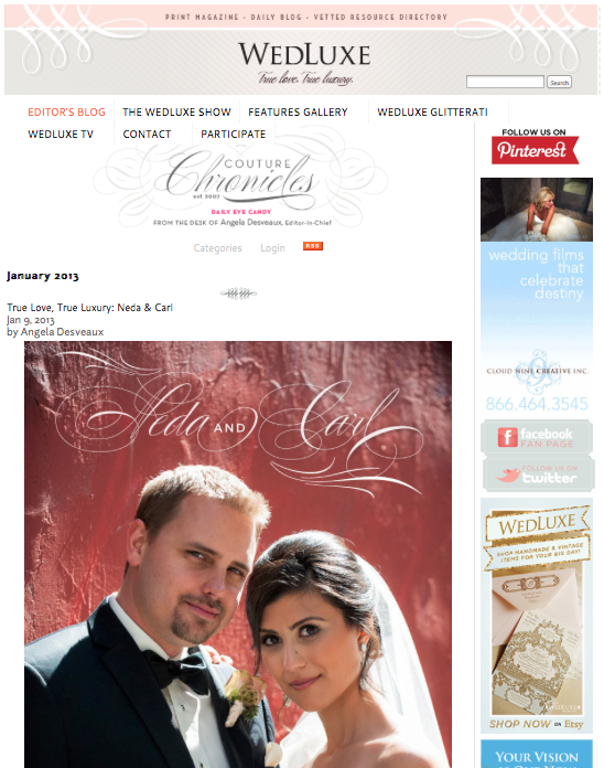 Featured on WedLuxe Magazine's Blog, Neda and Carl, 2013