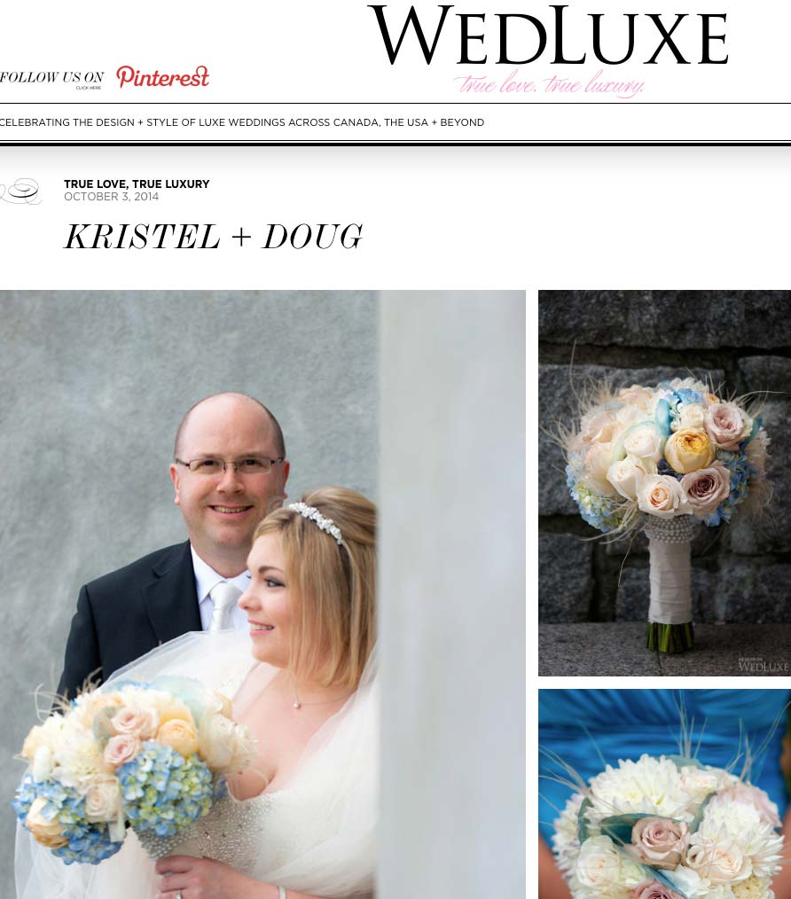 Featured on WedLuxe Magazine's Blog, Kristel and Doug, October2014