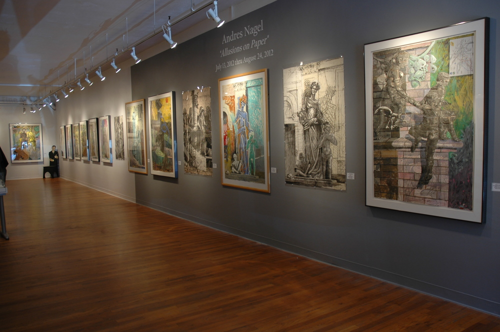 Installation view of Andres Nagel: Allusions on Paper at Meyer Fine Art in San Diego, CA. 2012.