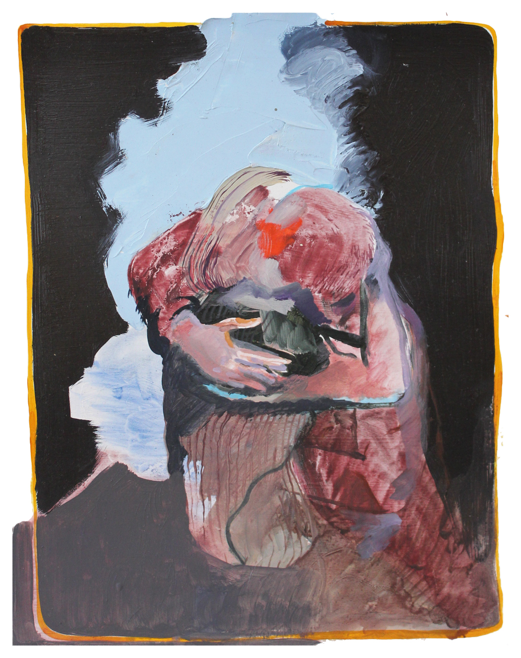"""Chantal Wnuk, Another Painting About Touching, 2015. Oil on paper mounted on wood panel, 14"""" x 11"""""""