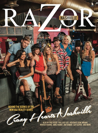 DECEMBER 2013 / JANUARY 2014 - HEATHER'S COVER STORY ON CRAZY HEARTS: NASHVILLE IN  RAZOR MAGAZINE