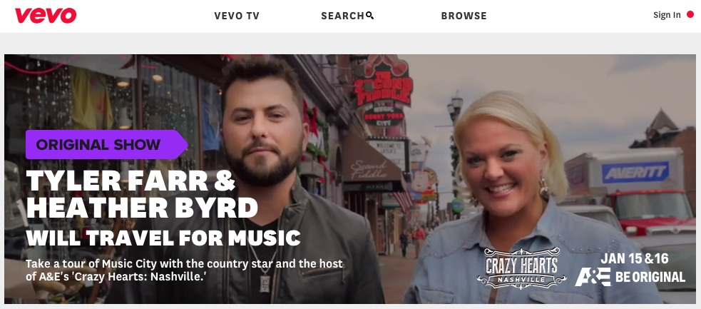 "JANUARY 2014: SEE HEATHER AND COUNTRY MUSIC ARTIST TYLER FARR SHARE SOME OF THEIR FAVORITE SPOTS AROUND TOWN FOR VEVO'S NEW SERIES, ""WILL TRAVEL FOR MUSIC"""