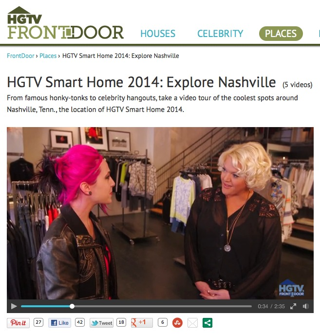 MARCH 2014 - HEATHER APPEARED IN HGTV'S FRONT DOOR SERIES SPECIAL ON NASHVILLE AND SHARED SOME OF HER FAVORITE PLACES TO SHOP AROUND TOWN.