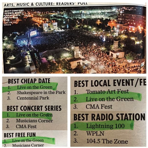 OCTOBER 2014 - LIVE ON THE GREEN RECEIVED NUMEROUS AWARDS FROM THE NASHVILLE SCENE'S BEST OF NASHVILLE READER'S POLL