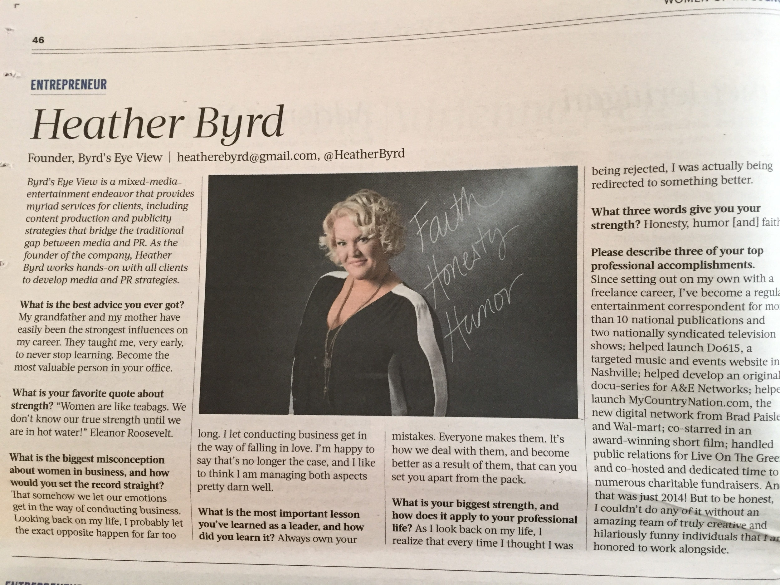 FEBRUARY 2015 - THE ARTICLE IN NASHVILLE BUSINESS JOURNAL FEATURING HEATHER