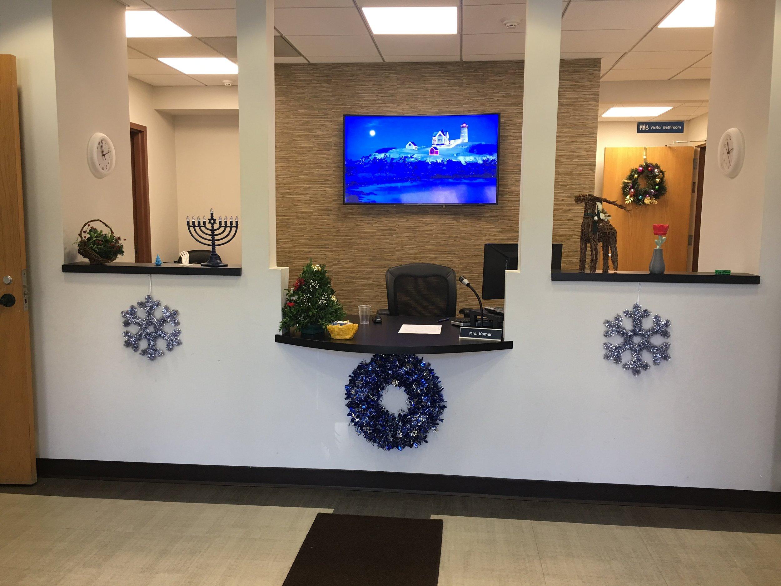 Westfield Day School's welcoming reception desk. Photo by Ilene B. Miller