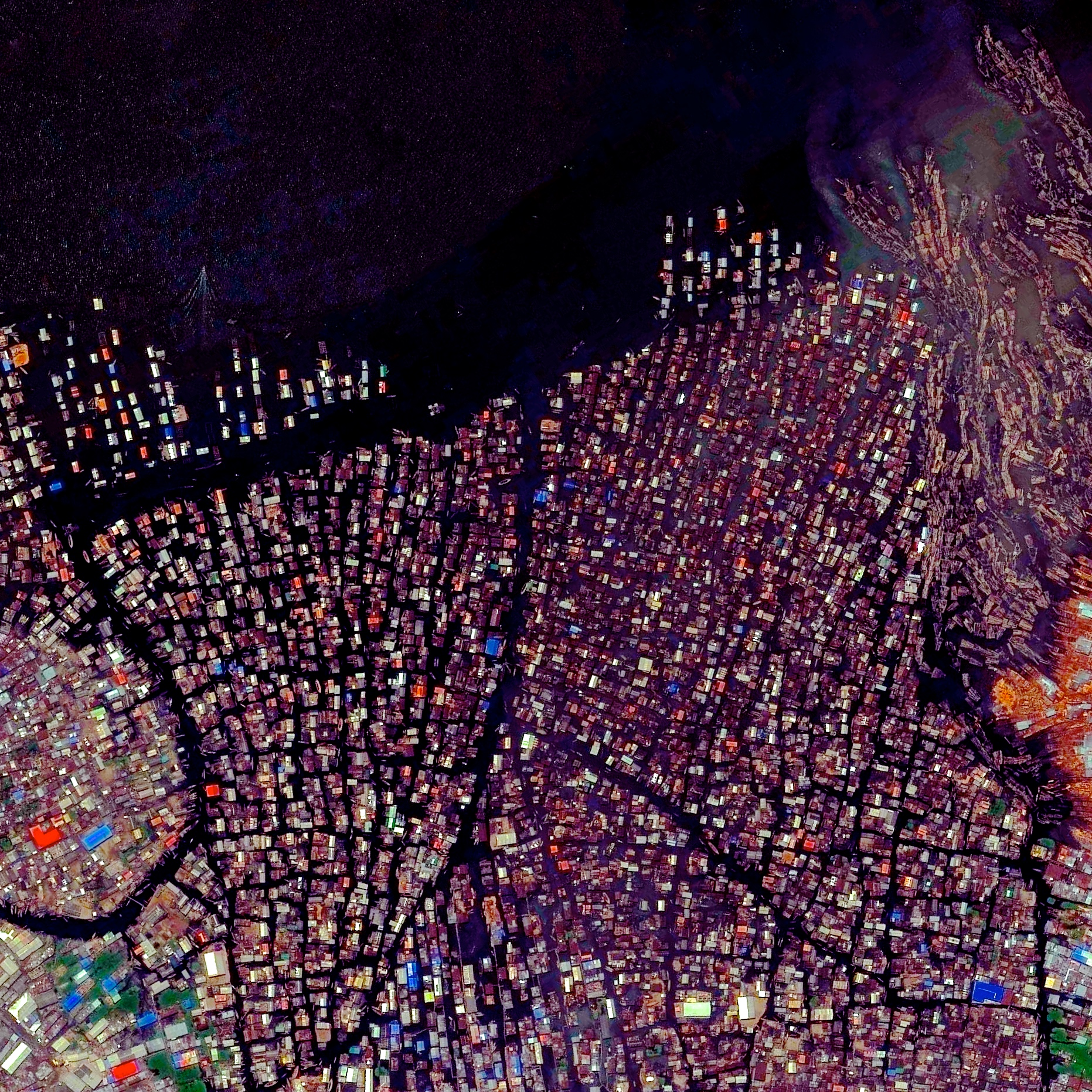 4/28/2015   Makoko   Lagos, Nigeria  6°29′44″N 3°23′39″E    Makoko is a floating village in Lagos, Nigeria. Residents, approximately 85,000 in total, use wooden canoes to navigate the narrow canals and move about the neighborhood. In recent years, there has been great dispute over this area as the government has attempted to demolish homes to allow for the construction of more valuable, waterfront real estate.