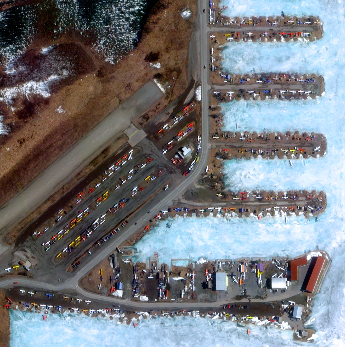 5/13/2015   Lake Hood Seaplane Base   Anchorage, Alaska, USA  61°10′54″N 149°57′59″W     The Lake Hood Seaplane Base, captured here during the frozen-over winter, is located in Anchorage, Alaska, USA. Handling an average of 190 flights per day, the facility is the world's busiest airport for seaplanes.