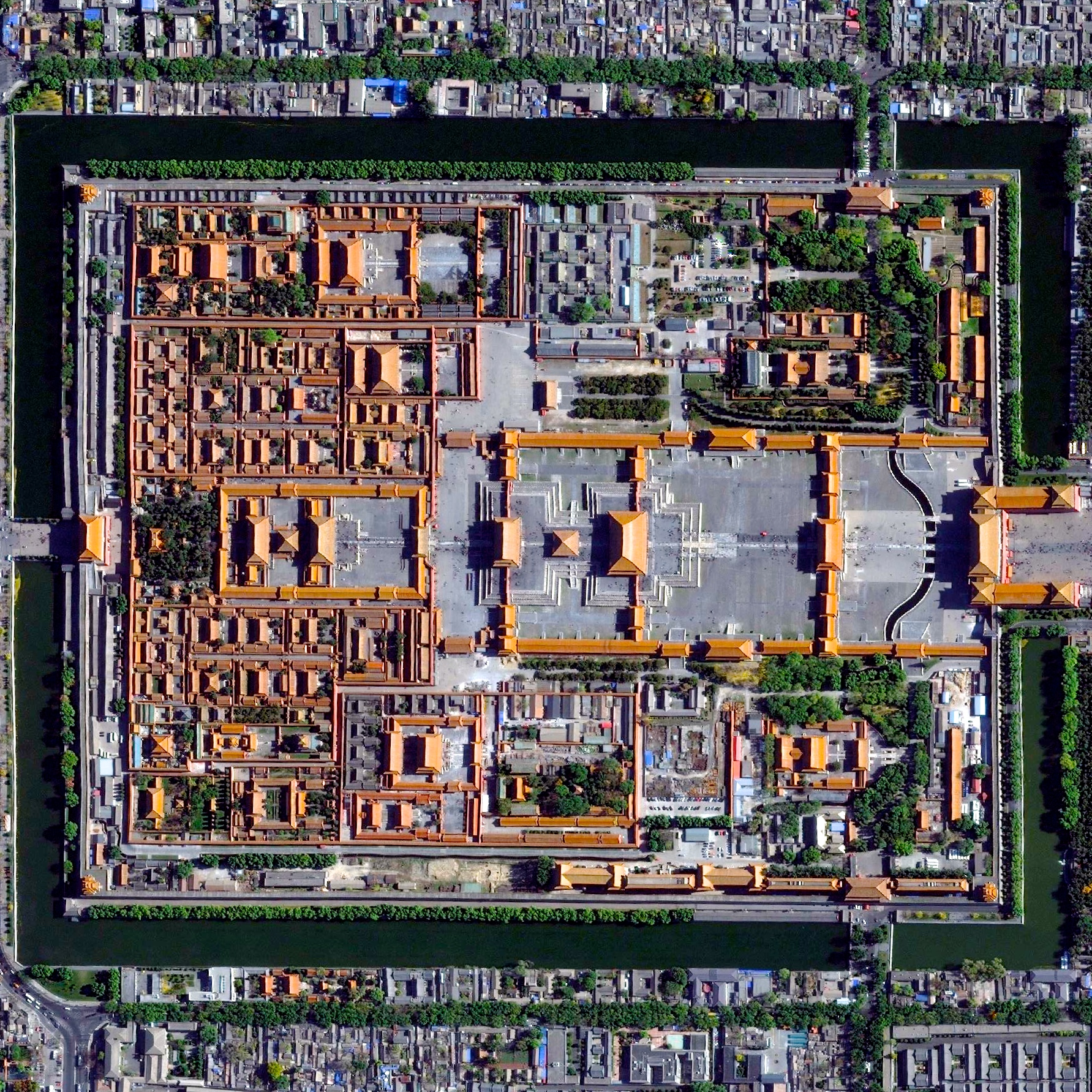 6/17/2015   The Forbidden City   Beijing, China  39°54′53″N 116°23′26″E     The Forbidden City in Beijing, China was built from 1406 until 1420 by more than one million workers. The palace complex, which contains 9,999 rooms, is surrounded by walls and a moat that are 26 feet high and 171 feet wide, respectively.