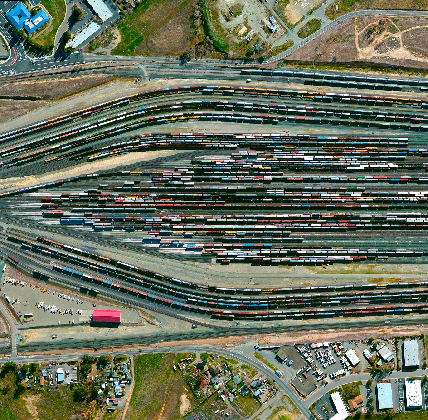 "6/19/2015   Roseville Yard   Roseville, California, USA  38°43'14""N, 121°18'58""W     Roseville Yard, located north of Sacramento, California is the largest rail facility on the west coast of the United States. Operated by the Union Pacific Railroad, the yard accommodates approximately 98 percent of all rail traffic in the north of the state."