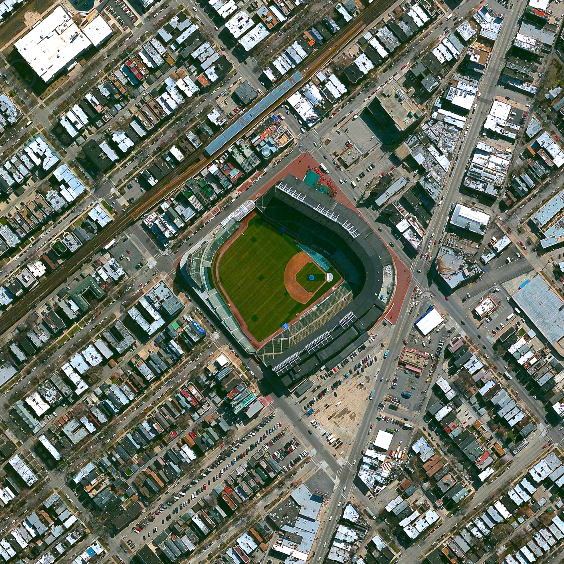 "6/21/2015   Wrigley Field   Chicago, Illinois, USA  41°56′54″N 87°39′20″W     It's Father's Day here in the United States, so I thought it was fitting to share an Overview of my dad's favorite place - Wrigley Field. The stadium is home to the Chicago Cubs and is the second-oldest active major league ballpark (after Fenway Park in Boston) with its first game played in 1916.  ""The Friendly Confines"" are  known for its ivy-covered brick outfield wall and was the last major league ballpark to have lights installed for night games in 1988."