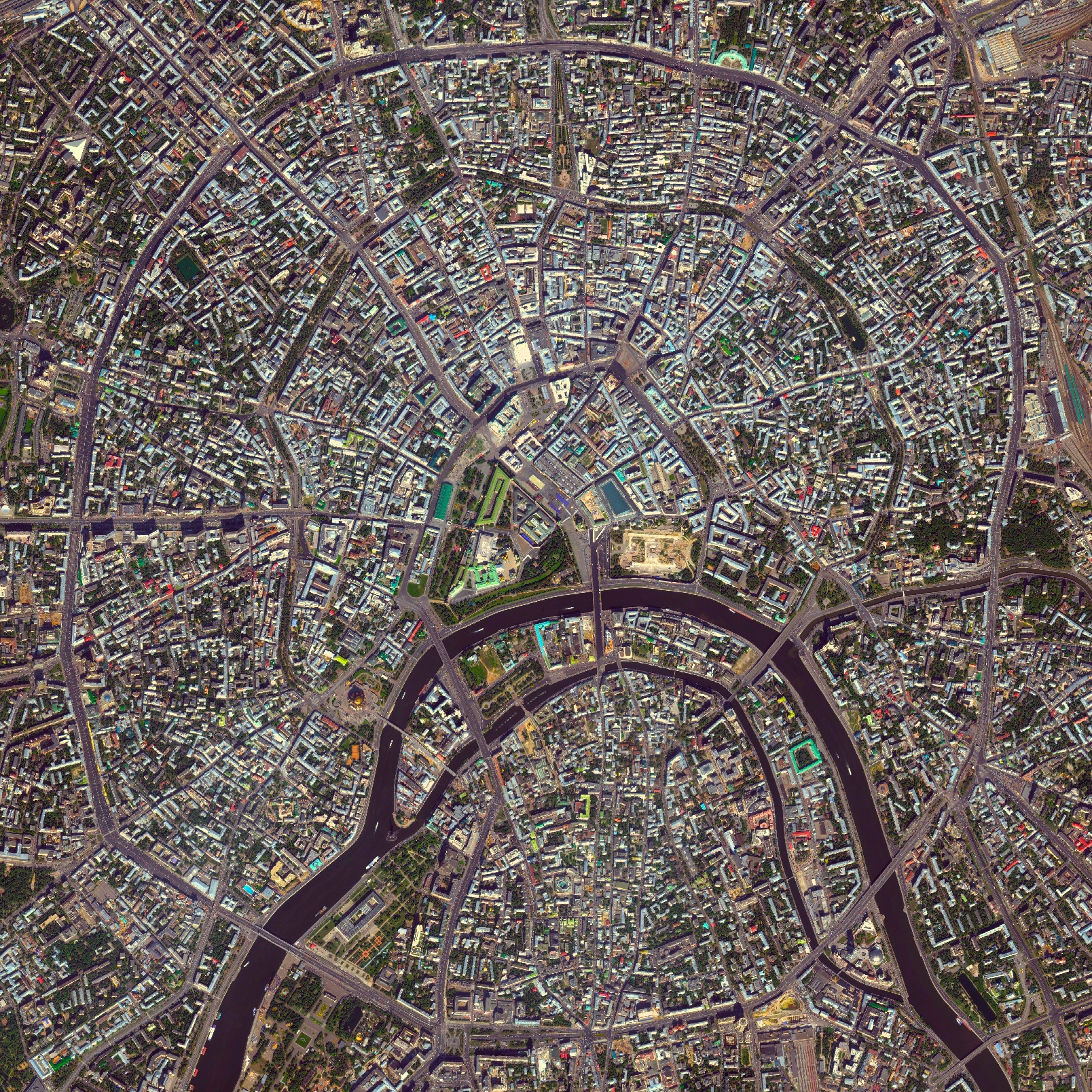 7/72015   Moscow Rings   Moscow, Russia  55°45′N 37°37′E    Moscow is the capital and largest city in Russia with 12.2 million residents. The city is organized into five concentric transportation rings that surround the Kremlin. The two innermost rings are seen here.