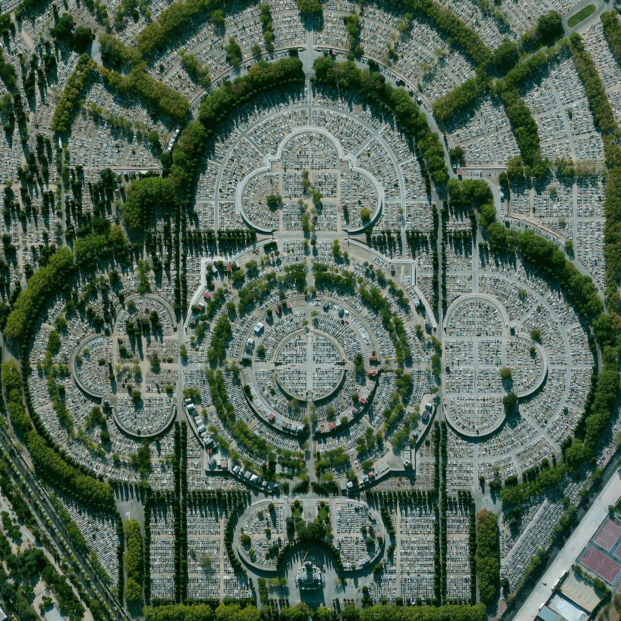 7/16/2015   Our Lady of Almudena Cemetery   Madrid, Spain  40°25′10″N 3°38′26″W    Our Lady of Almudena Cemetery in Madrid, Spain is one of the largest cemeteries in the world. The number of gravesites - estimated at five million - is greater than the population of Madrid itself.