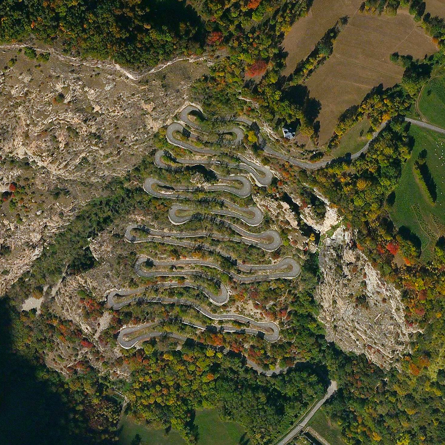 7/23/2015   Lacets de Montvernier   Montvernier, France  45.317959295°, 6.338567070°    Stage 18 of the Tour De France concluded today with the eighteen sweeping, hair-pin turns of the Lacets de Montvernier in Montvernier, France. The spectacular climb is 3.4 kilometers long and contains a switchback turn every 150 meters. Romain Bardet, competing in his home country, won the stage in just under five hours and four minutes while Chris Froome retains a lead of 3:10 with only three stages remaining before the finish in Paris.