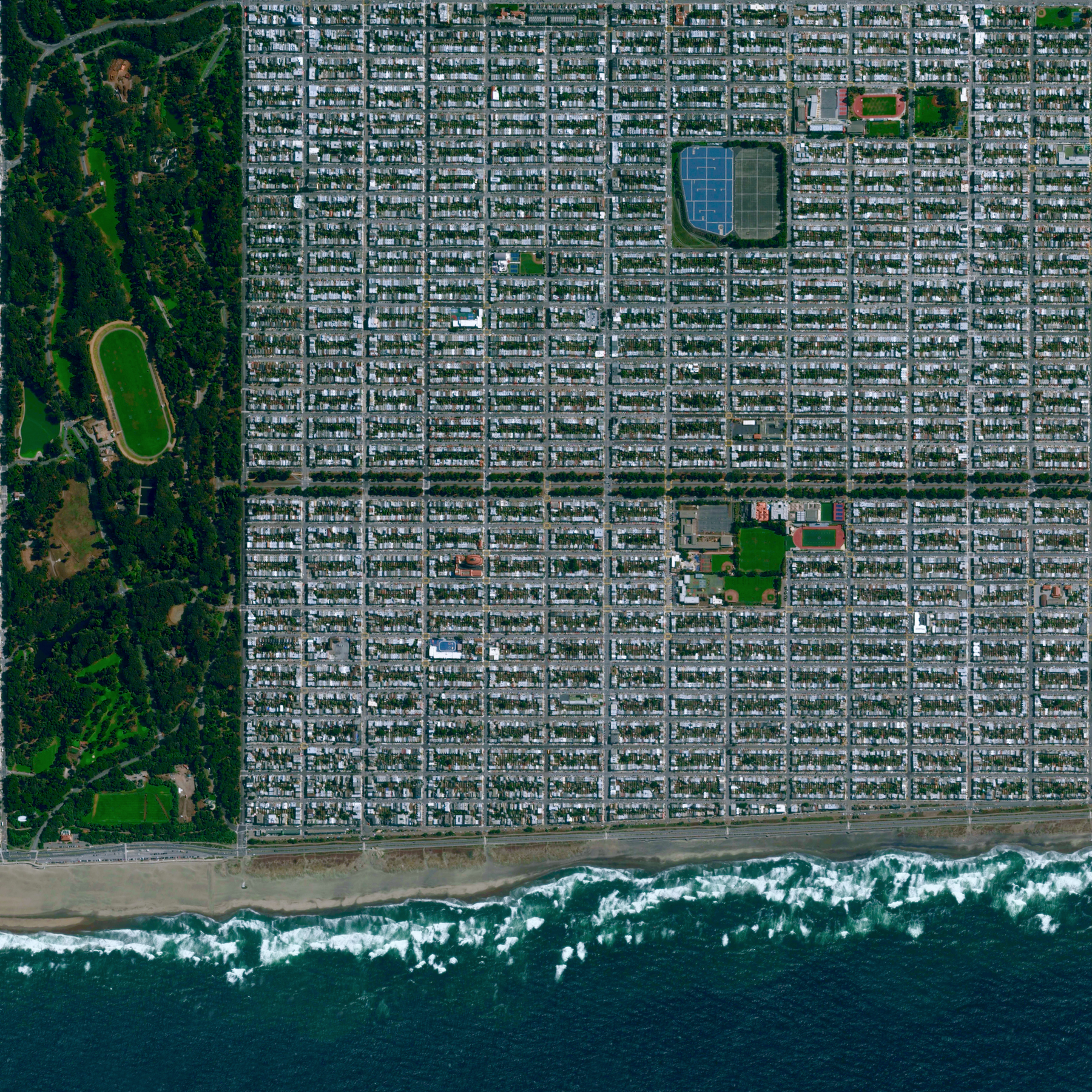"""9/22/2015   Sunset District   San Francisco, California, USA  37.756279578°, -122.487415727°    The Sunset District is the largest and most populous neighborhood within San Francisco, California. Bordered by Golden Gate Park on its northern side, the district is home to more than 85,000 people. Sunset is often referred to as """"The Avenues"""" because it is spanned by numbered north-south thoroughfares."""