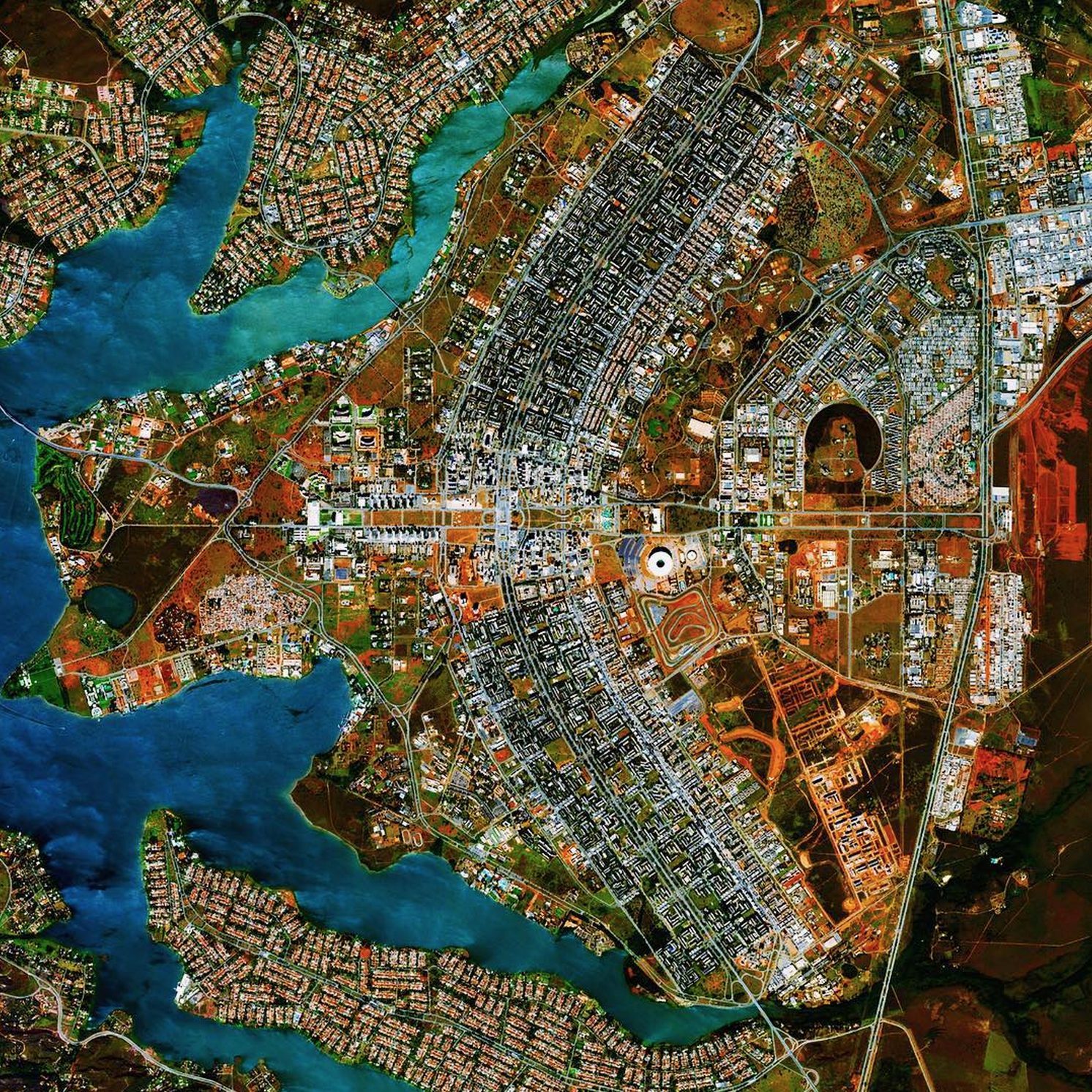 """To celebrate our 125K follower milestone, we're doing a PRINT GIVEAWAY from our Printshop on Instagram! On Thursday, we'll announce a winner who will receive a 10"""" print of their choice, perhaps they'll pick this view of Brasilia, Brazil!  Enter the contest here: https://instagram.com/p/8ddkw7CUGw/   The city was founded on April 21, 1960 in order to move the capital from Rio de Janeiro to a more central location within Brazil. The design - resembling an airplane from above - was developed by Lúcio Costa and prominently features the modernist buildings of the celebrated architect Oscar Niemeyer at its center."""