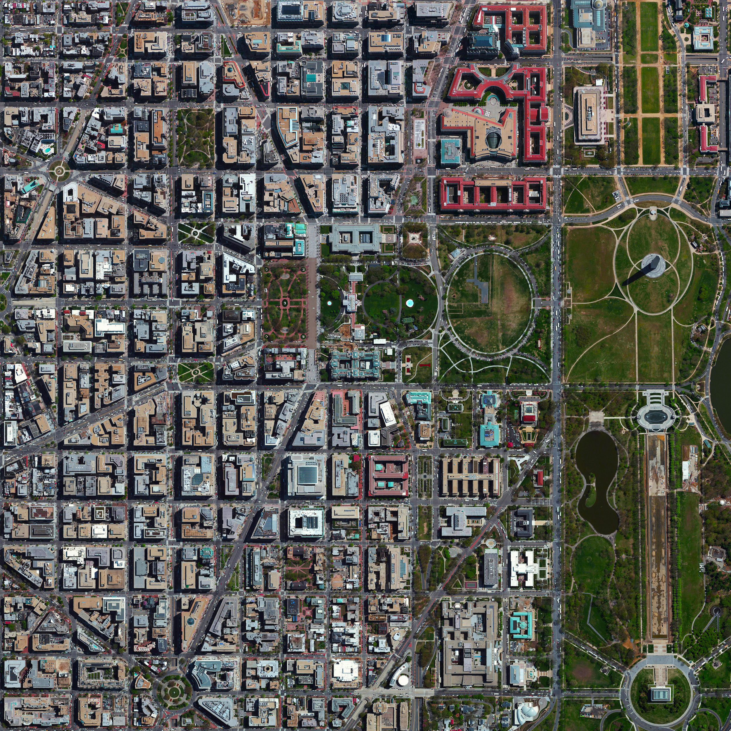 "10/22/2015   L'Enfant Plan   Washington, D.C., USA  38°53′26″N 77°1′13″W     The urban plan for Washington, D.C. - the L'Enfant Plan - was developed in 1791 by Major Pierre Charles L'Enfant for George Washington, the first President of the United States. L'Enfant designed a compass-aligned grid for the city's streets, with intersecting diagonal avenues that were later named after the states of the union. The diagonal avenues also intersect with the north-south and east-west streets at circles and rectangular plazas in order to create more open, green spaces. Lastly, L'Enfant laid out a 400 foot-wide (122 meter) garden-lined ""grand avenue"" - what is now know as the National Mall – that connects the US Capitol Building, the Washington Monument, and the Lincoln Memorial (the latter two are visible at right in this Overview)."