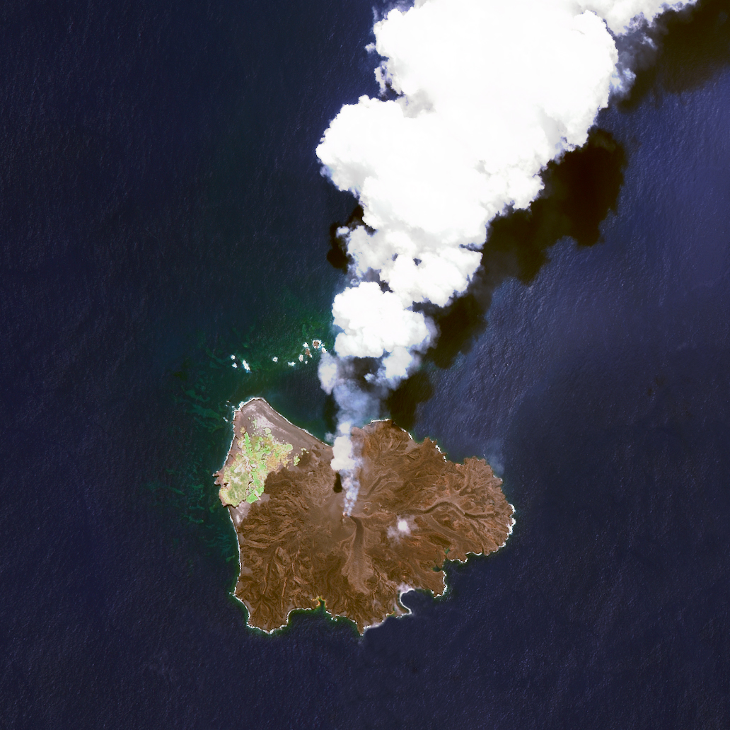 11/2/2015   Nishinoshima   Japan  27°14′49″N 140°52′28″E    Nishinoshima is a volcanic island located 940 kilometers south of Tokyo, Japan. Starting in November 2013, the volcano began to erupt and continued to do so until August 2015. This Overview was captured on 7/1/2015. Over the course of this activity, the island grew in size from .056 square kilometers to 2.3 square kilometers.