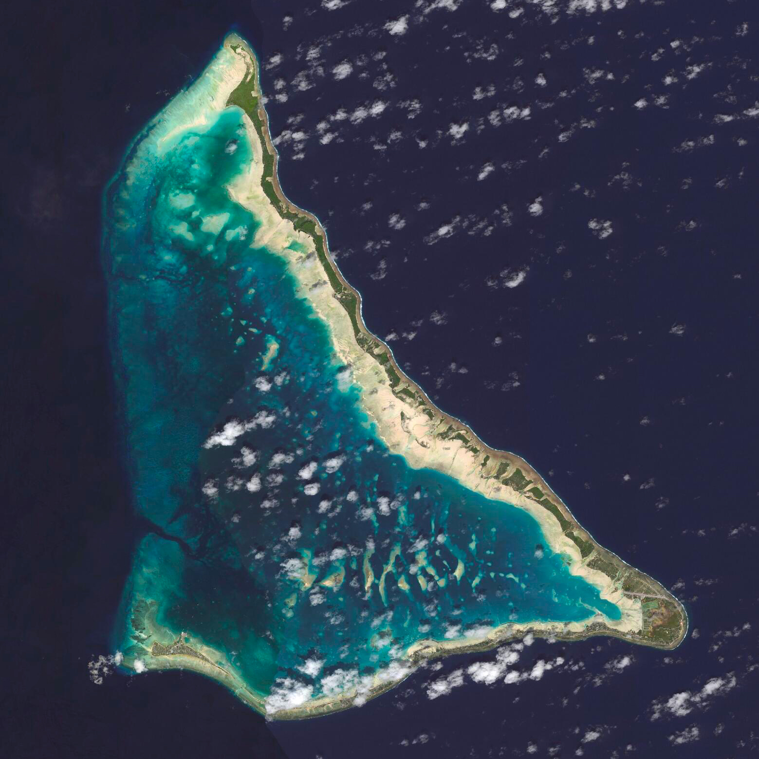 11/30/2015   Tarawa   Tarawa, Kiribati  1°25′N 173°02′E    The 2015 UN Climate Change Conference kicked off today in Paris. The event will bring together leaders from more than 190 countries with the goal of creating a legally binding and universal climate agreement that will keep global warming below 2°C. Daily Overview is providing imagery for the UN's #EarthToParis event next week and we'll be closely following what comes of the discussions at #cop21 in the coming days.  At the conference today, Anote Tong, the president of Kiribati — a low-lying island nation in the Central Pacific Ocean —expressed his gratitude to the country of Fiji. The 102,000 residents of Kiribati may be forced to relocate as increased ice melt causes the Pacific Ocean to rise and submerges its islands. Fiji has boldly offered to take in the people of Kiribati if that occurs. Tarawa, an atoll that serves as the capital of the country and is home to half of it's population, is seen here.