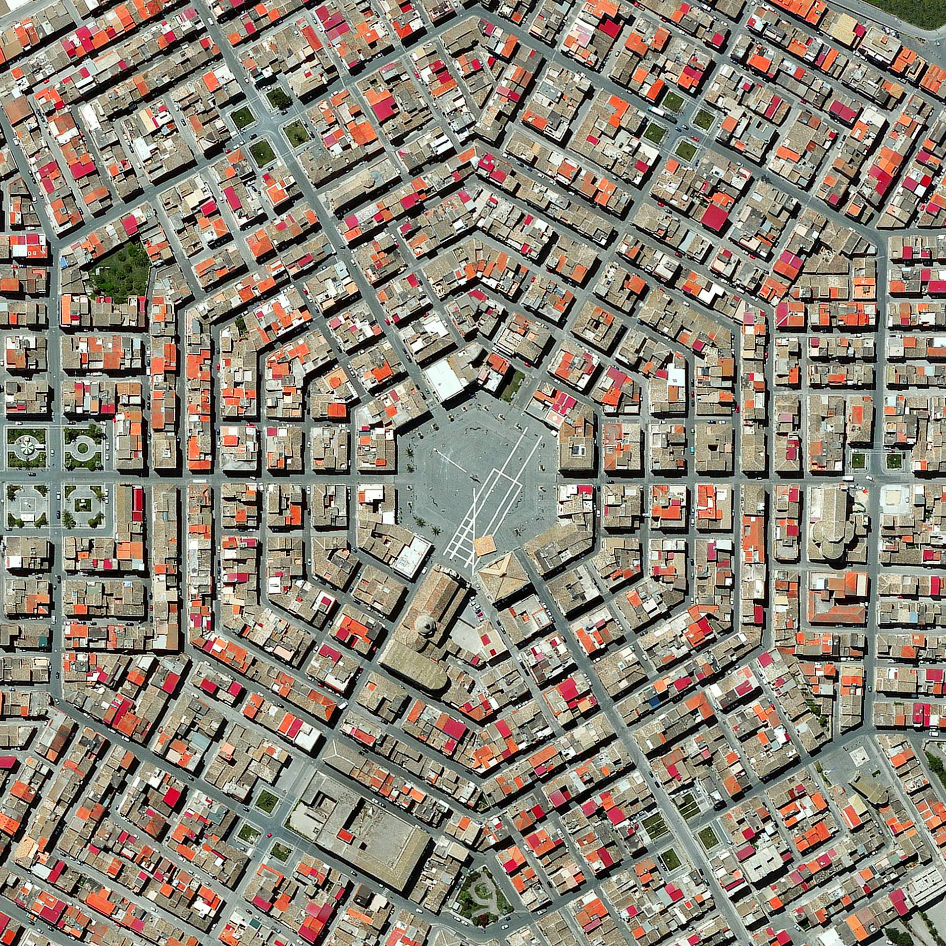 2/27/2016   Grammichele    Sicily, Italy  37°13′N 14°38′E    Grammichele is located in Sicily, in southern Italy. The town was constructed in 1693 with a distinctive hexagonal street plan after an earthquake destroyed the nearby, old town of Occhialà.