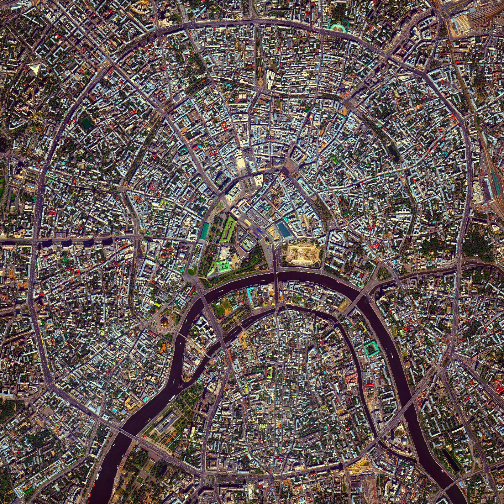 6/6/2016    Moscow Rings     Moscow, Russia    55°45′N 37°37′E     Moscow is the capital and largest city in Russia with 12.2 million residents. The city is organized into five concentric transportation rings that surround the Kremlin. The two innermost rings are seen here.
