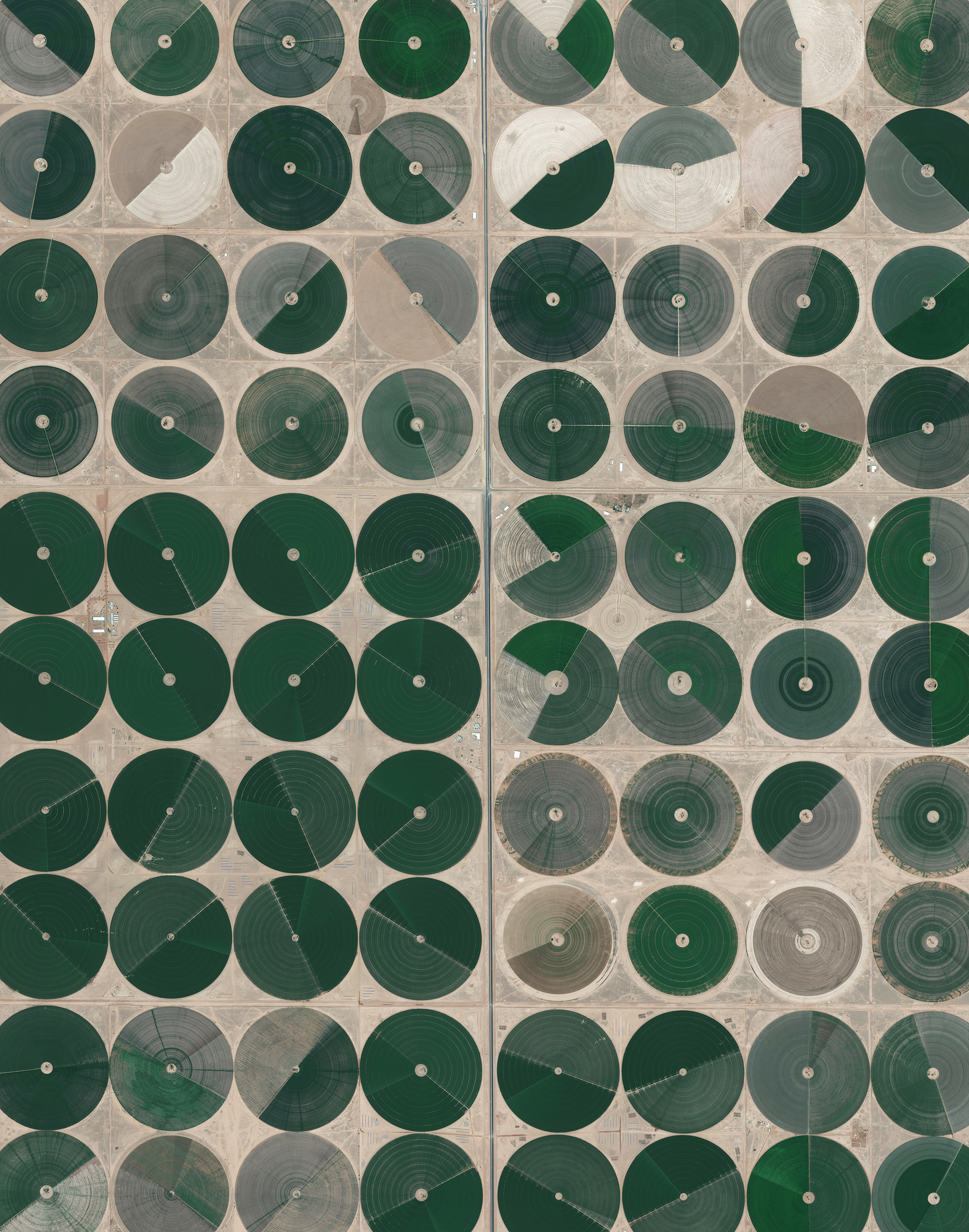 6/16/2016  Pivot Irrigation Fields   Wadi As-Sirhan Basin, Saudi Arabia   30.089890096°, 38.271806556°     Center pivot irrigation is used throughout the Wadi As-Sirhan Basin of Saudi Arabia. Water is mined from depths as great as one kilometer (~3,000 ft), pumped to the surface, and evenly distributed by sprinklers that rotate 360 degrees. Spurred by a government effort to strengthen its agriculture sector, cultivated land in Saudi Arabia grew from 400,000 acres in 1976 to more than 8 million acres by 1993. For a sense of scale, the total area shown in this Overview is approximately forty square miles (32,000 acres).