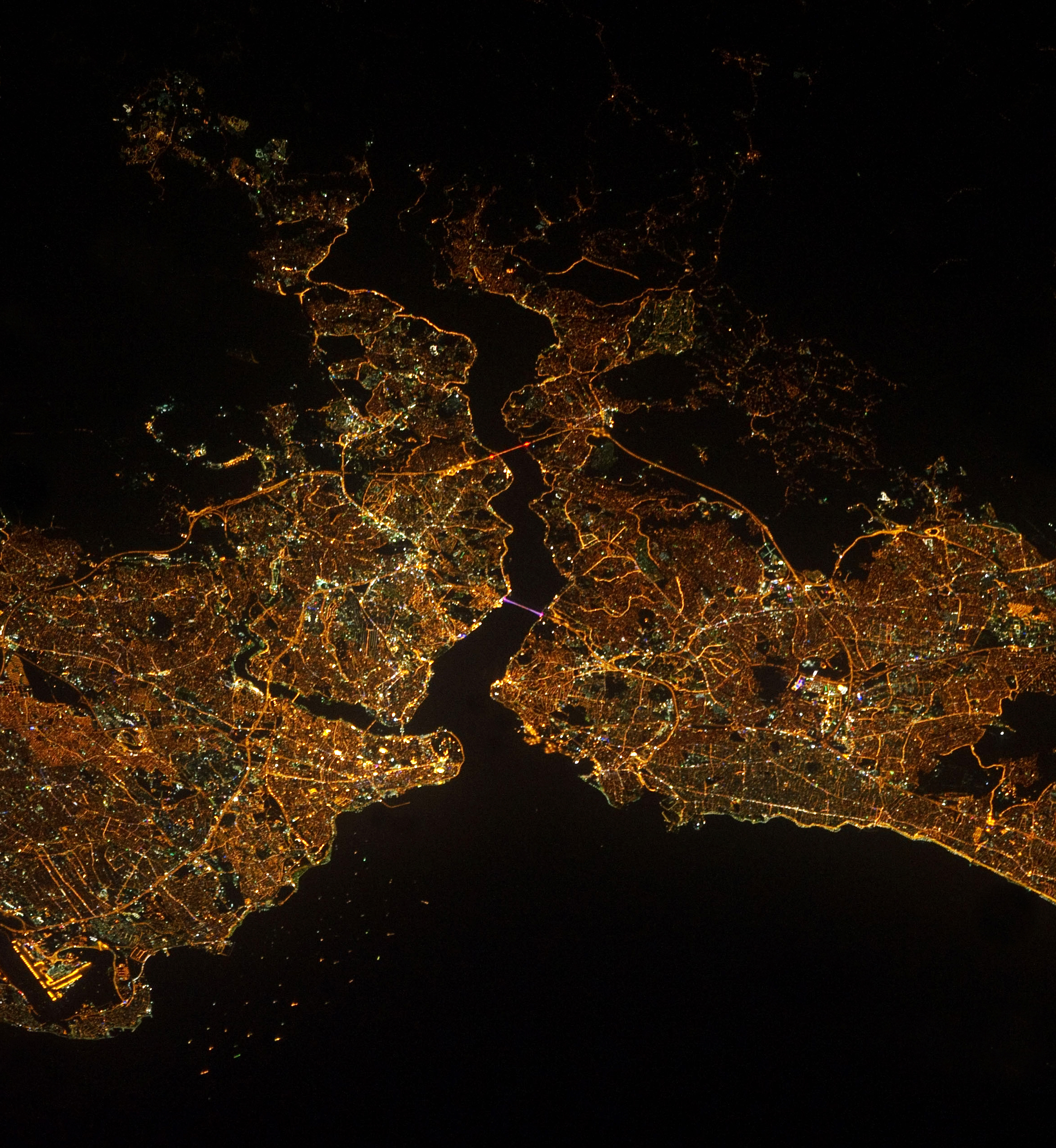 Our thoughts are with the people of Istanbul today, following a gruesome terrorist attack that took place yesterday at the city's main airport. Istanbul is the largest metropolitan area in Turkey, with a population of more than 14 million people. This Overview was captured at night from the International Space Station and is courtesy of NASA.