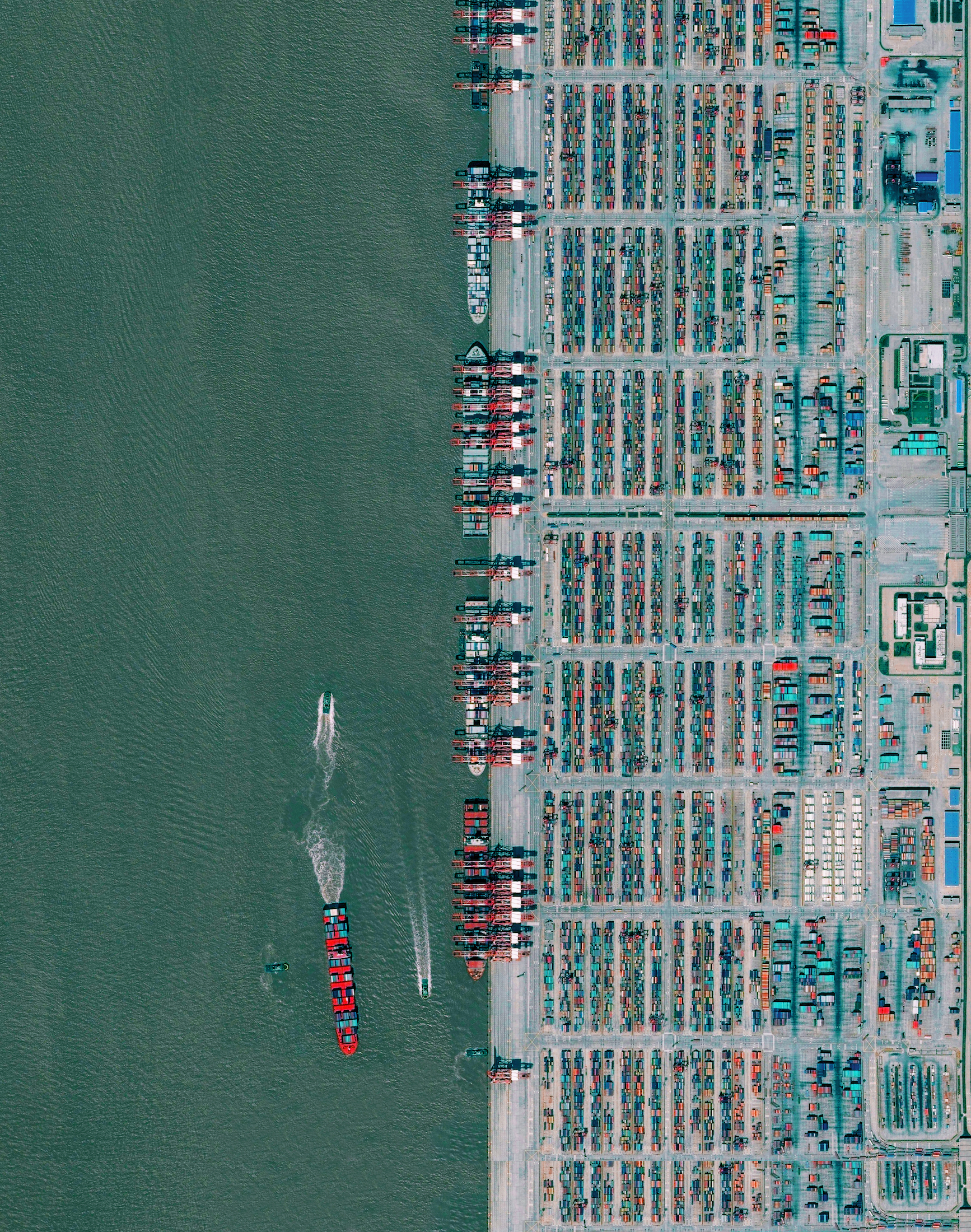 8/15/2016   Port of Shanghai   Shanghai, China  30°37′35″N 122°03′53″E     The Port of Shanghai is the world's busiest container port, handling more than 35 million TEUs (approximately 776 million tons) of cargo every year. That weight is roughly equal to 1.7 times the mass of all humans living on the planet.