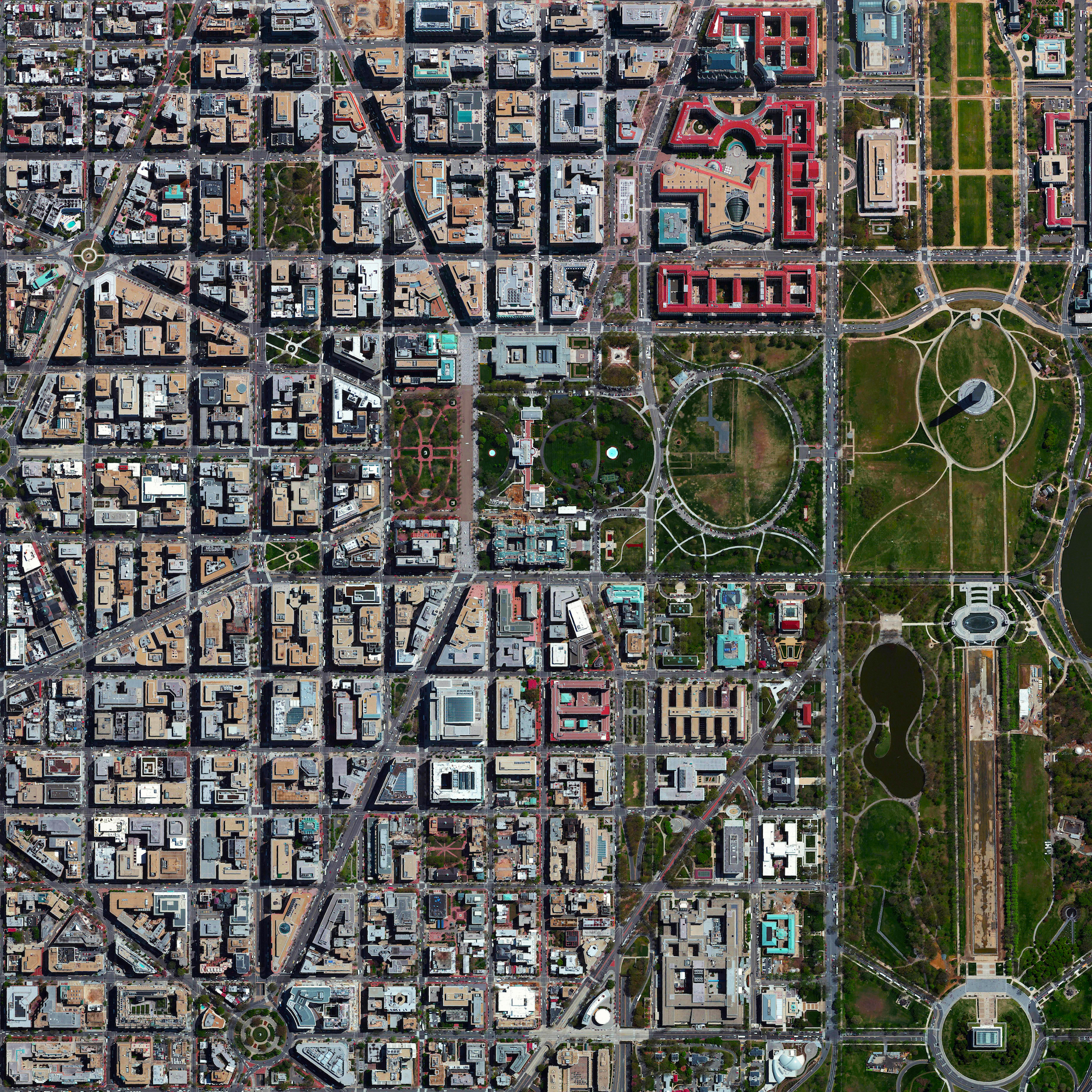 """8/23/2016    L'Enfant Plan    Washington, D.C, USA  38°53′26″N 77°1′13″W    We're continuing this week's focus on urban planning with this Overview of Washington, D.C., USA. The city's L'Enfant Plan was developed in 1791 by Major Pierre Charles L'Enfant for George Washington, the first President of the United States. L'Enfant designed a compass-aligned grid for the city's streets, with intersecting diagonal avenues that were later named after the states of the union. The diagonal avenues also intersect with the north-south and east-west streets at circles and rectangular plazas in order to create more open, green spaces. Lastly, L'Enfant laid out a 400 foot-wide (122 meter) garden-lined """"grand avenue"""" - what is now know as the National Mall – that connects the US Capitol Building, the Washington Monument, and the Lincoln Memorial (the latter two are visible at right in this Overview)."""