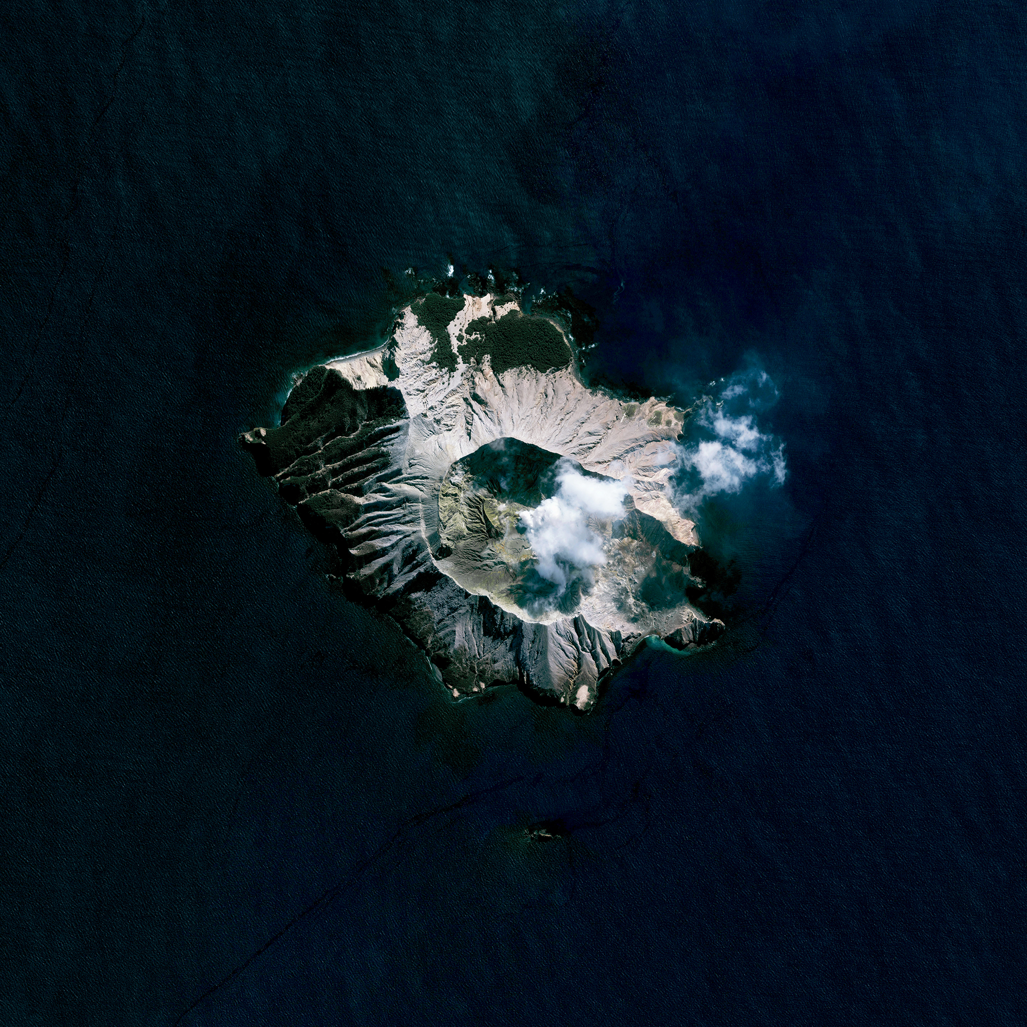 8/29/2016   Whakaari / White Island   Bay of Plenty, New Zealand   37°31′S 177°11′E     Whakaari, also known as White Island, is an active stratovolcano, situated 48 km (30 mi) from the North Island of New Zealand in the Bay of Plenty. Whakaari is New Zealand's most active volcano, and has been built up by continuous eruptions over the past 150,000 years. The island is approximately 2 km (1.2 mi) in diameter and rises to a height of 321 m (1,053 ft) above sea level.