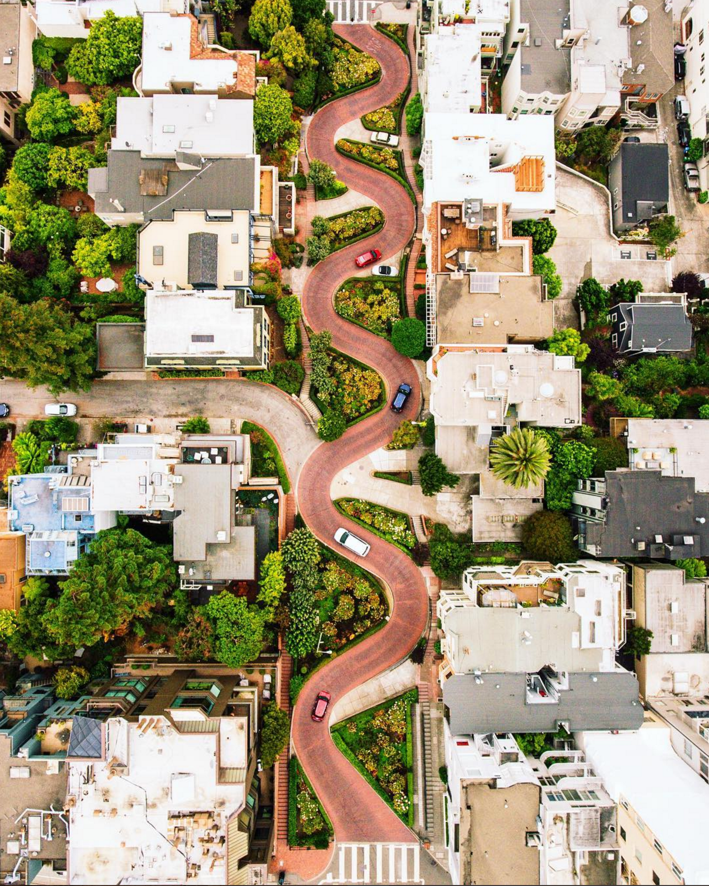 """8/30/2016   Lombard Street   San Francisco, California, USA  37.802317, -122.419740    Lombard Street runs from east to west in San Francisco, California, USA. With eight hairpin turns dispersed over a one-block section in the Russian Hill neighborhood, Lombard is often referred to as """"the most crooked street in the world."""""""