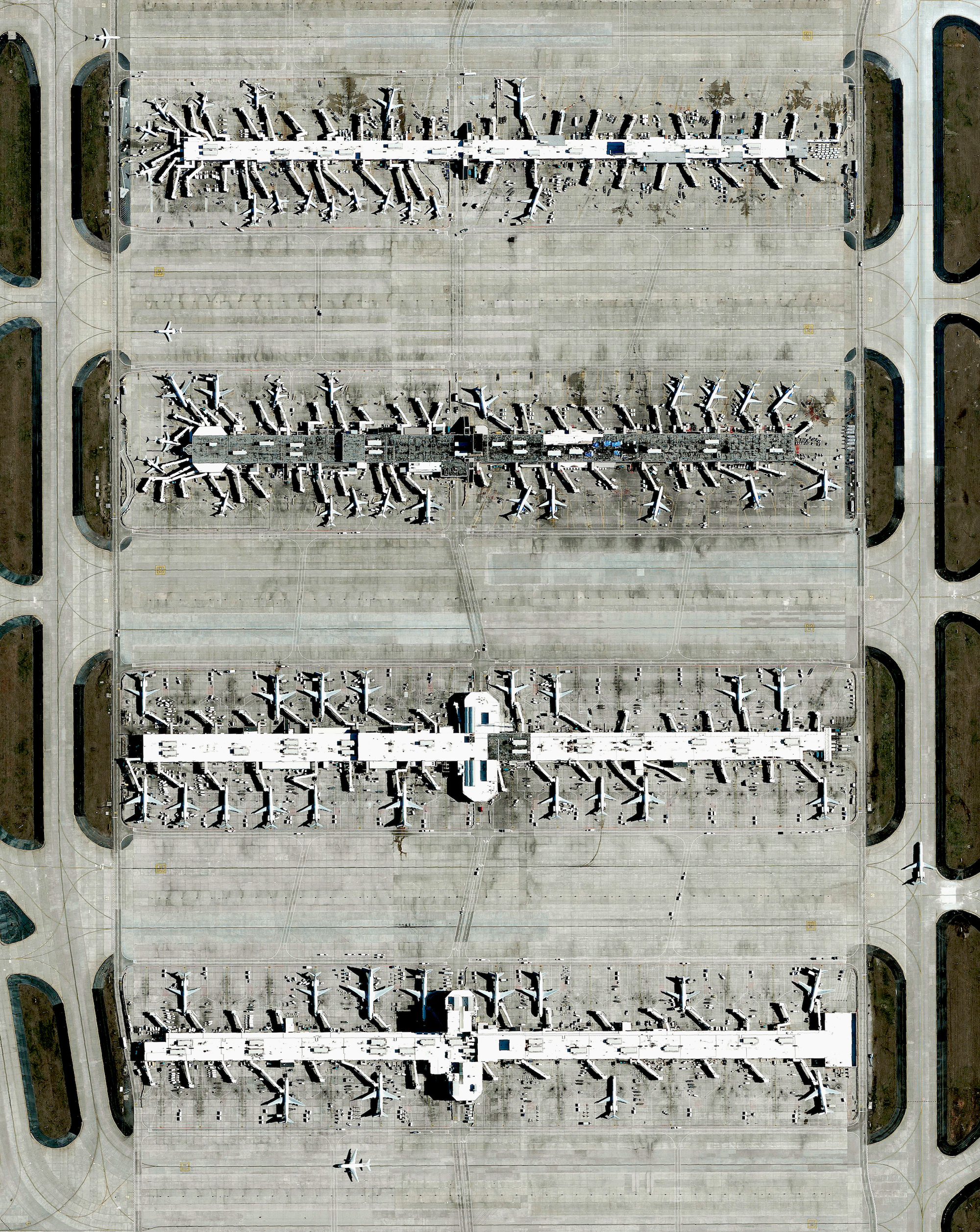 9/5/2016   Hartsfield-Jackson International Airport   Atlanta, Georgia, USA  33°38′12″N 084°25′41″W    Hartsfield–Jackson International Airport in Atlanta, Georgia, USA is the busiest airport in the world by total passengers and number of flights. In 2015, ATL accommodated more than 101 million passengers and 882,000 flights. Dozens of planes departing and arriving at concourses A-D are seen in this Overview.