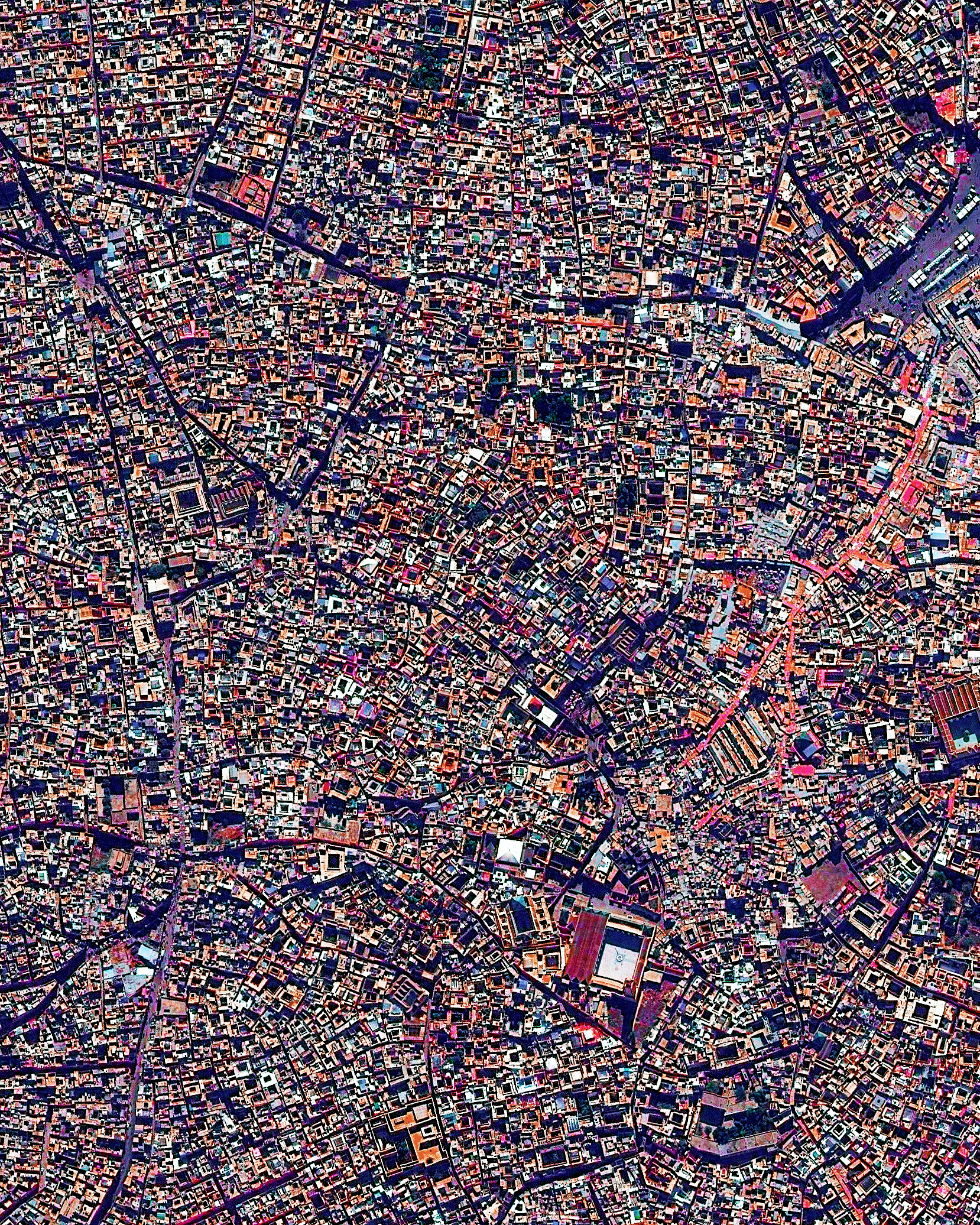 9/29/2016   Medina quarter   Marrakesh, Morocco  31.633080724°, -7.986173343°    The medina quarter in Marrakesh, Morocco is characterized by its winding, maze-like streets. Because the intricately connected honeycomb of alleyways narrows to less than a meter wide (~ 3 feet) at certain spots, the area is generally free from car traffic.
