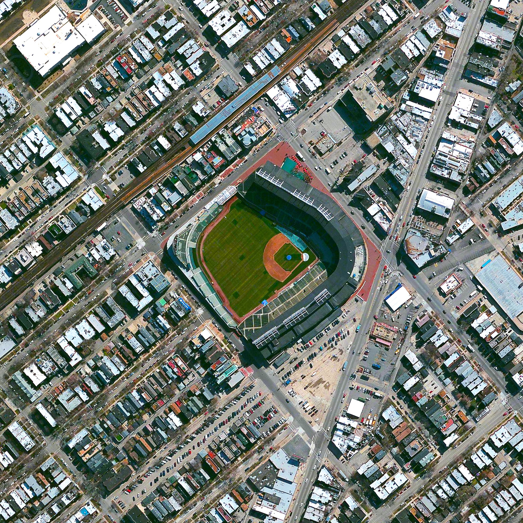 11/2/2016   Wrigley Field   Chicago, Illinois, USA   41.948°N 87.656°W     Last night the Chicago Cubs won the World Series, ending a 108-year streak since the franchise won its last championship. Congratulations to all of the Cubs fans in Chicago and all around the world! The team's home stadium, Wrigley Field, is captured in this Overview.