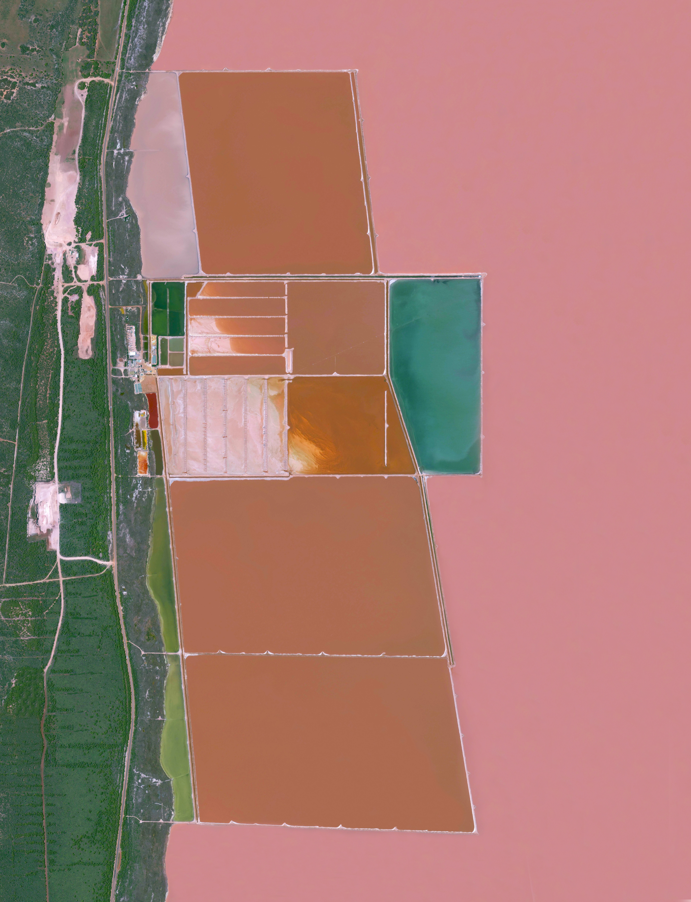 """12/9/2016   Hutt Lagoon   Western Australia  –28.172005°, 114.261002°    Here's a never-before-seen image from """"Overview.""""Hutt Lagoon is a massive lake in Western Australia that gets its pink color from a particular type of algae - Dunaliella salina - that grows in the water. The lagoon contains the world's largest microalgae production plant, where the algae is farmed for its beta-carotene, which is then used as a food‑coloring agent and source of Vitamin A in other products."""