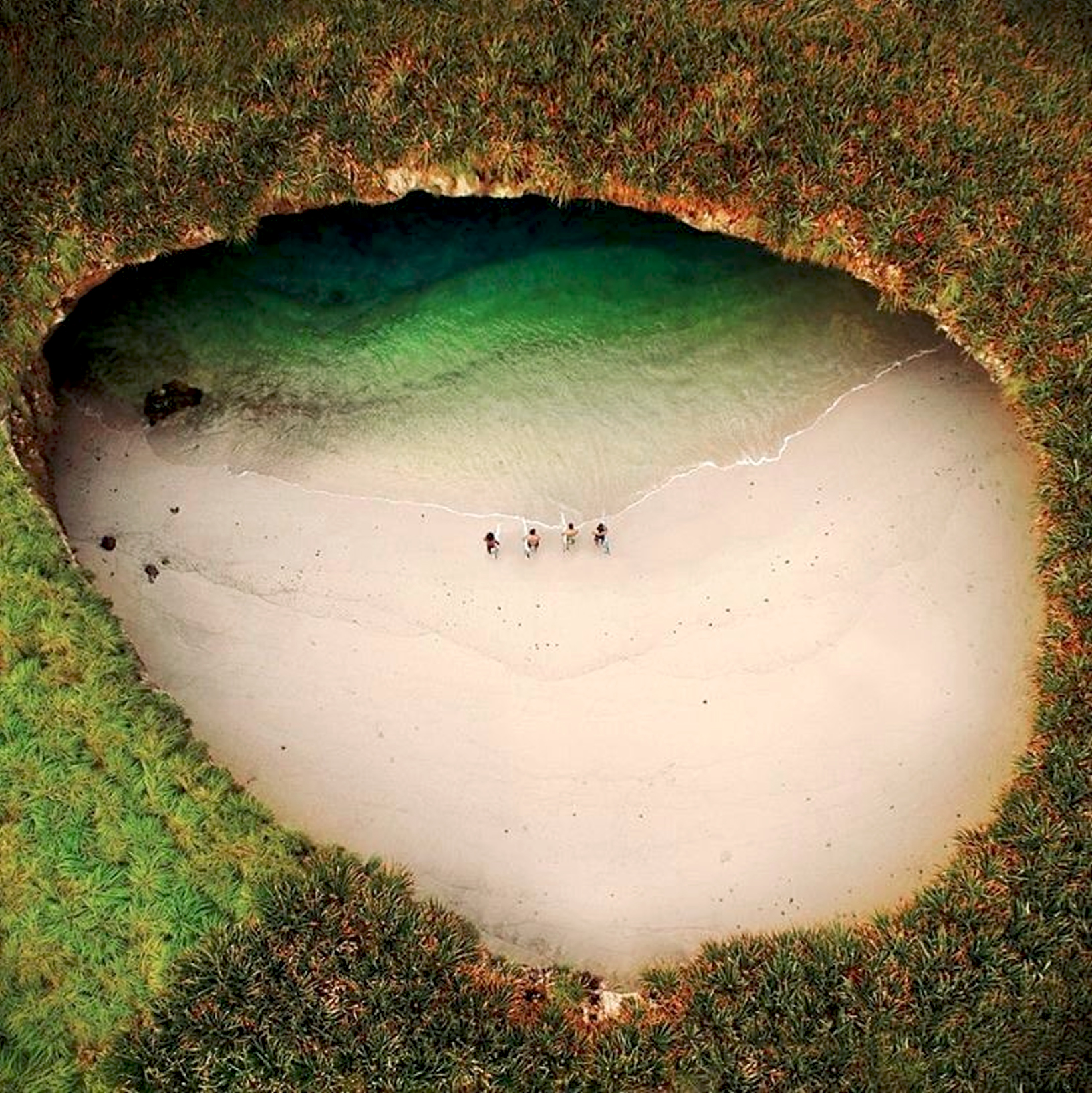 "4/20/2017  ""Hidden Beach""   Islas Marietas, Mexico  20.703953, -105.566868  Check out this stunning drone photo of the ""Hidden Beach"" in Islas Marietas, Mexico. The islands where the beach is located were created thousands of years ago by volcanic activity and are still uninhabited. It takes about one hour by boat to reach the island, which is visited by hundreds of tourist everyday.  Found on @fromwhereidrone  Drone photo by: Lugo Lugo"