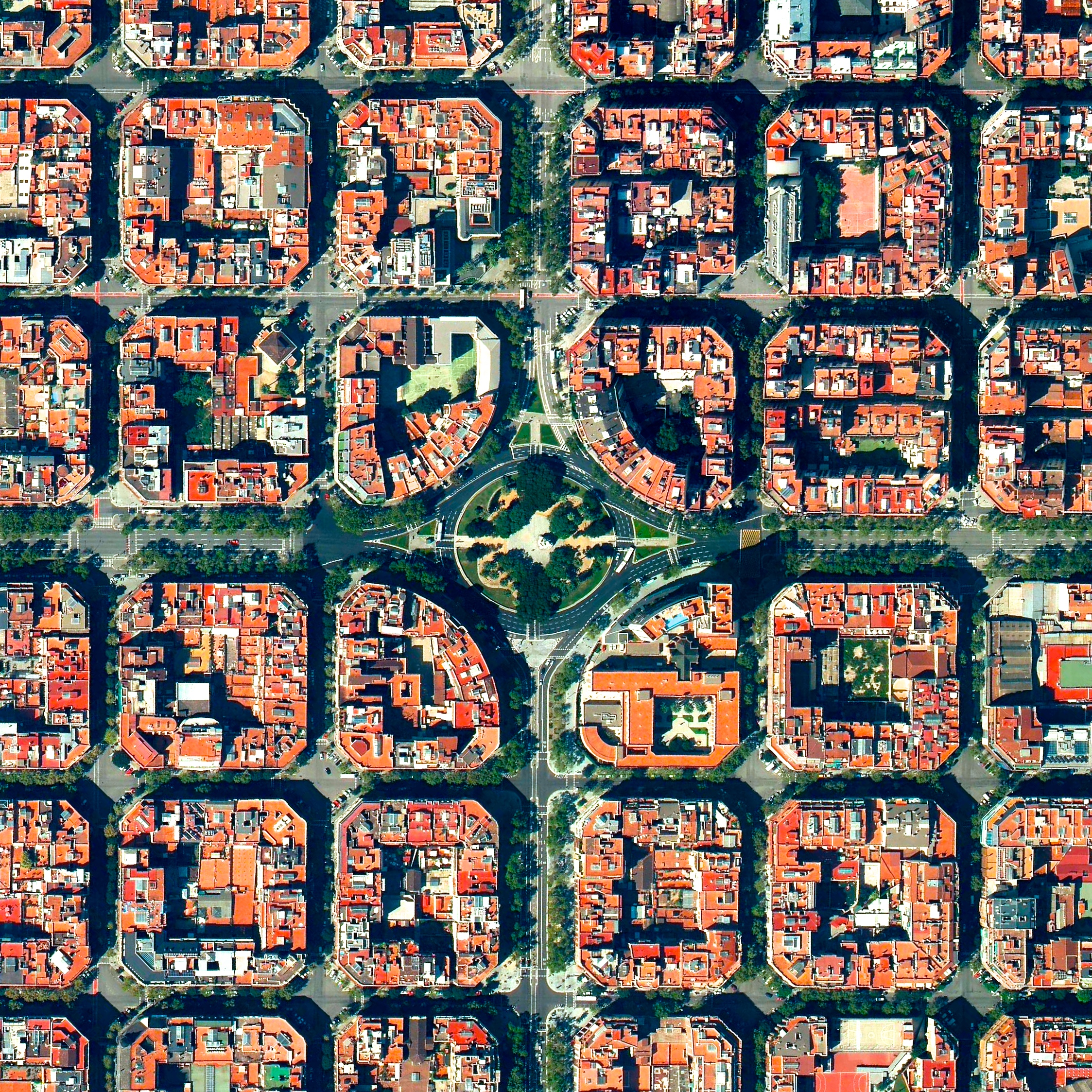 4/25/2017  Plaça de Tetuan  Barcelona, Spain  41.394921°N 2.175507°E  Plaça de Tetuan is a major square located in the Eixample district of Barcelona, Spain. The area characterized by its strict grid pattern, octagonal intersections, and apartments with communal courtyards. This Overview also available for purchase in our Printshop  Source imagery: DigitalGlobe