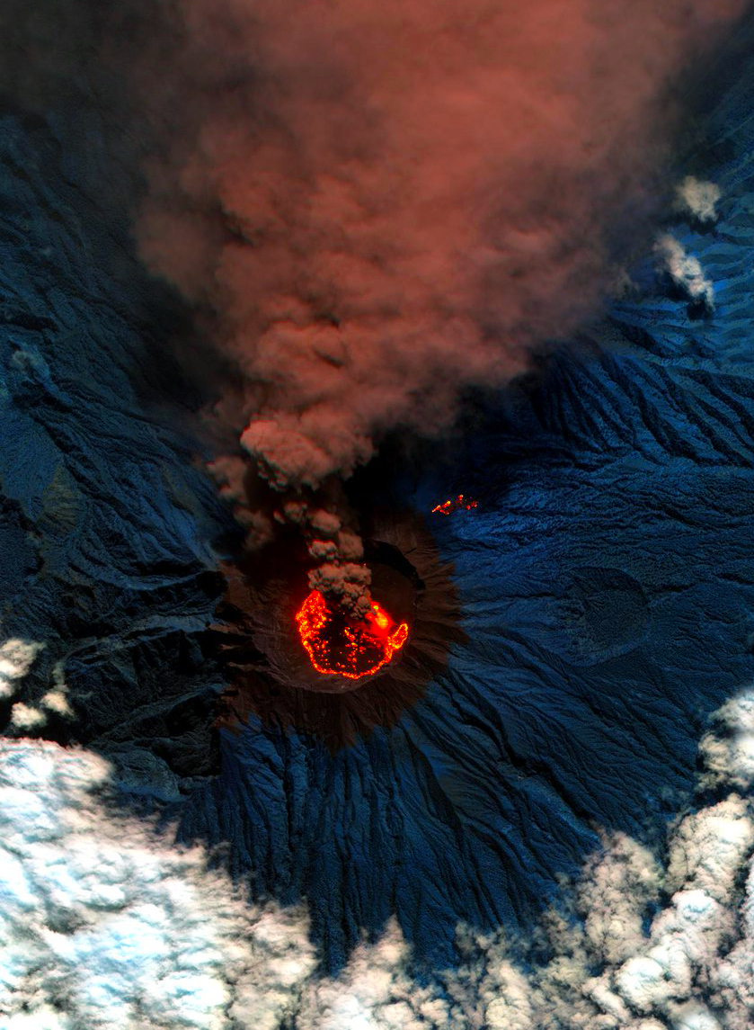 Lava and ash billow out of Raung, one of the most active volcanoes on the island of Java in Indonesia. Raung towers more than 10,000 feet above sea level and was captured here during a powerful eruption in 2015 with a short-wave infrared satellite camera. The ash produced during this activity forced the closure of numerous airports on the island.  8°07′30″S 114°02′30″E