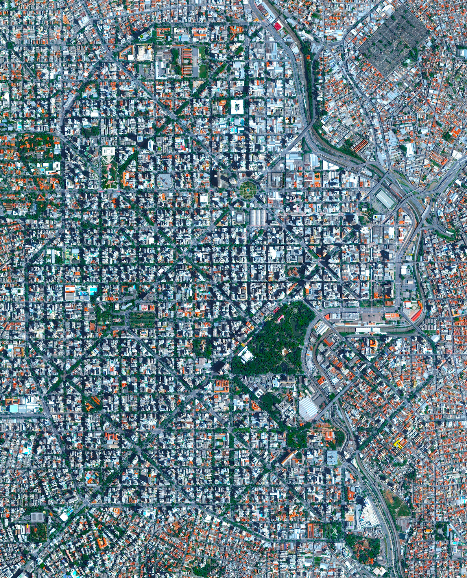 Belo Horizonte is the sixth largest city in Brazil with a population of roughly five million people. The city was constructed at the end of the 19th century with a planned, symmetrical array of perpendicular and diagonal streets in its downtown area. The roads are named after the Brazilian states and the indigenous tribes of Brazil.  19°55′S 43°56′W