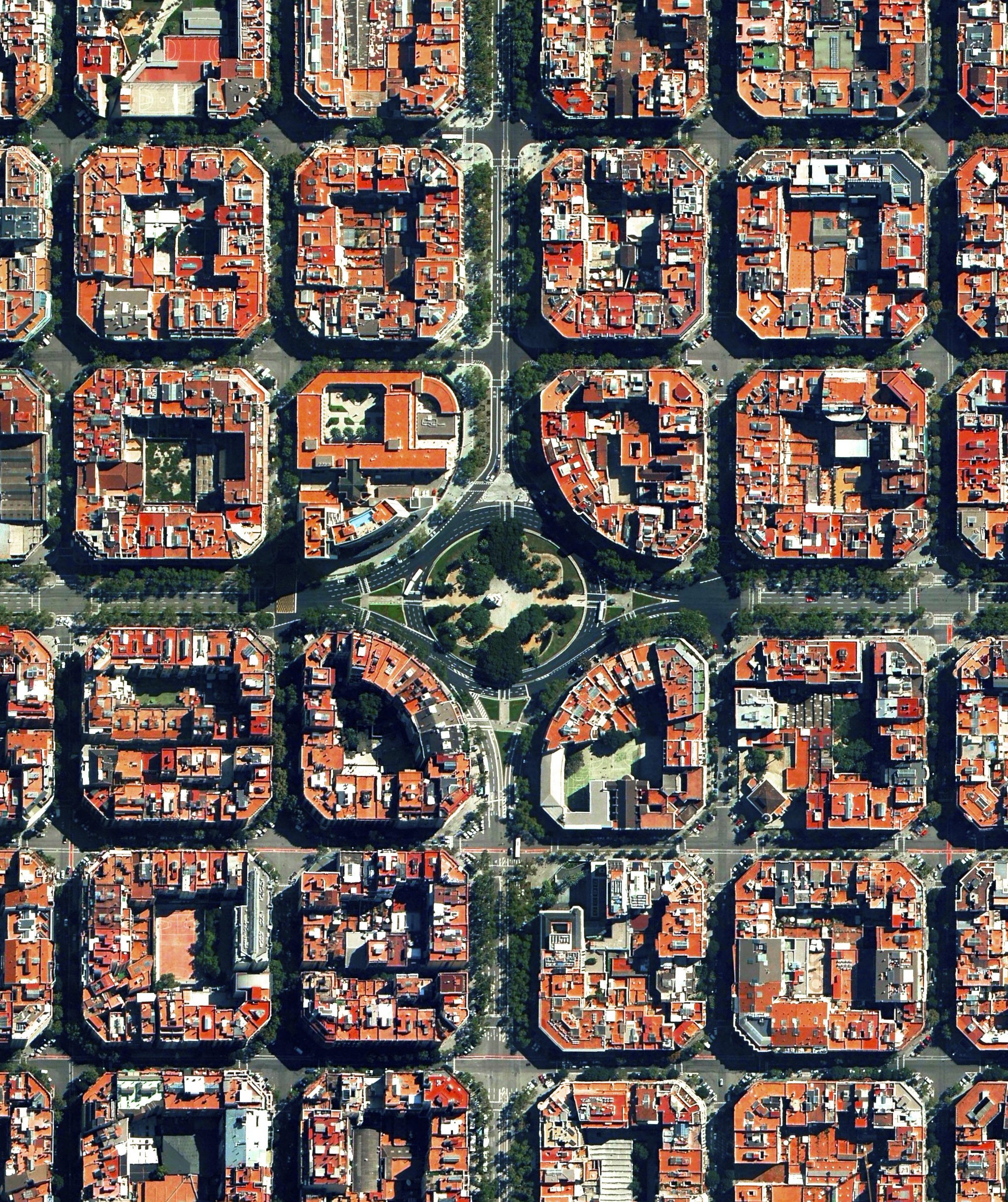 Our thoughts are with the people of Barcelona, Spain following yesterday's gruesome attack on Las Ramblas. The beautiful city attracts visitors from all around the world, a fact made apparent as yesterday's victims came from at least 34 countries. Plaça de Tetuan, located in the city's Eixample district, is seen in this Overview.  41.394921°N 2.175507°E