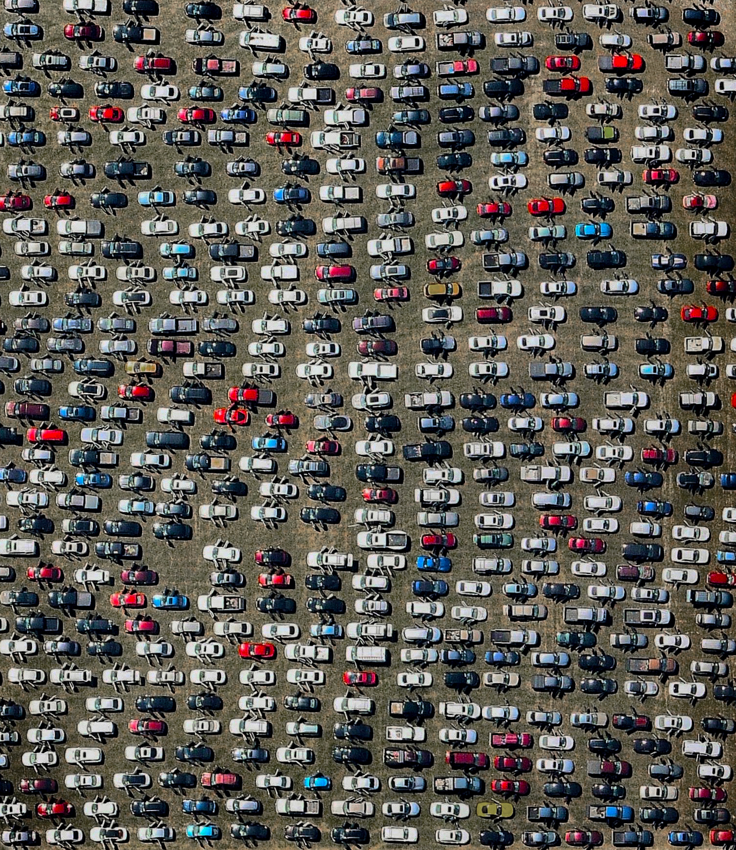 Hundreds of abandoned cars that were damaged by Hurricane Harvey are seen at the Royal Purple Raceway in Houston, Texas, USA. It is estimated that 30,000 now fill the lot and more than a half a million cars were damaged by the storm's floodwaters. The cars will remain here until insurance adjusters assess the damage and process claims for each vehicle.  29.786157, -94.878034