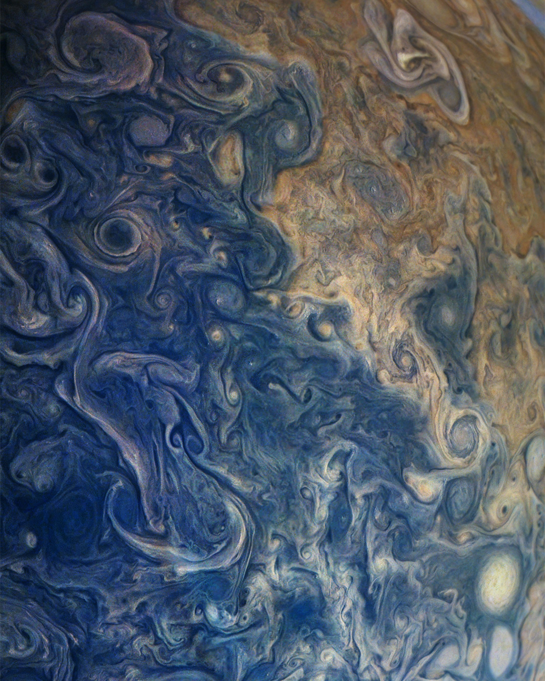 Check out this beautiful shot of Jupiter. Taken by the spacecraft Juno, the image captures swirling storms on the planet as wide as two Earths. Juno has been circling Jupiter since July 2016 and will continue to do so, traveling at speeds up to 130,000 mph, for a total of two years.  Image courtesy of NASA