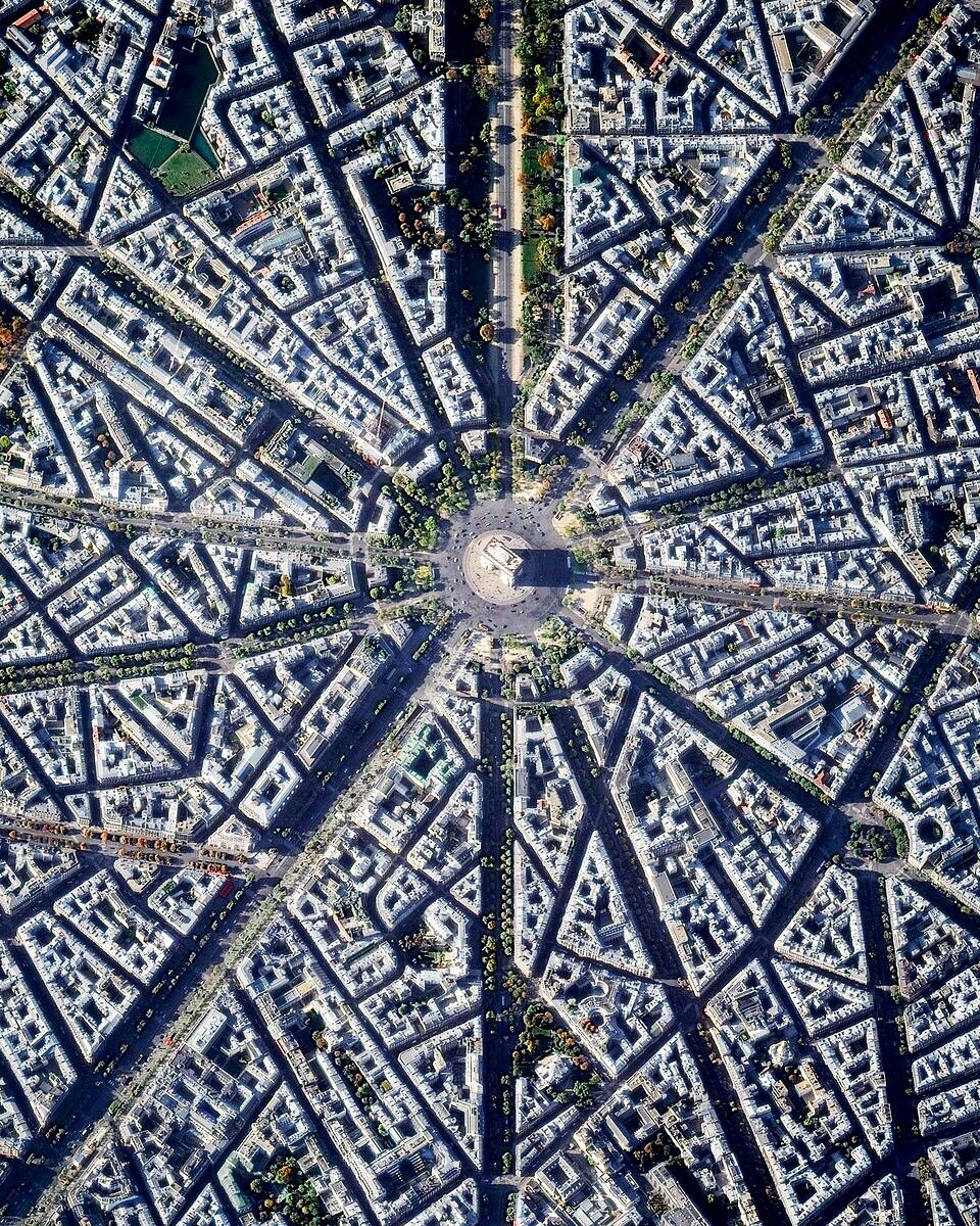 "The Arc de Triomphe is located at the centre of 12 radiating avenues in Paris, France. Because of numerous delays, such as the abdication of Napoleon, construction of the arch took nearly 30 years to complete.  48°52'25.2""N, 2°17'42.0""E  Source imagery: DigitalGlobe"