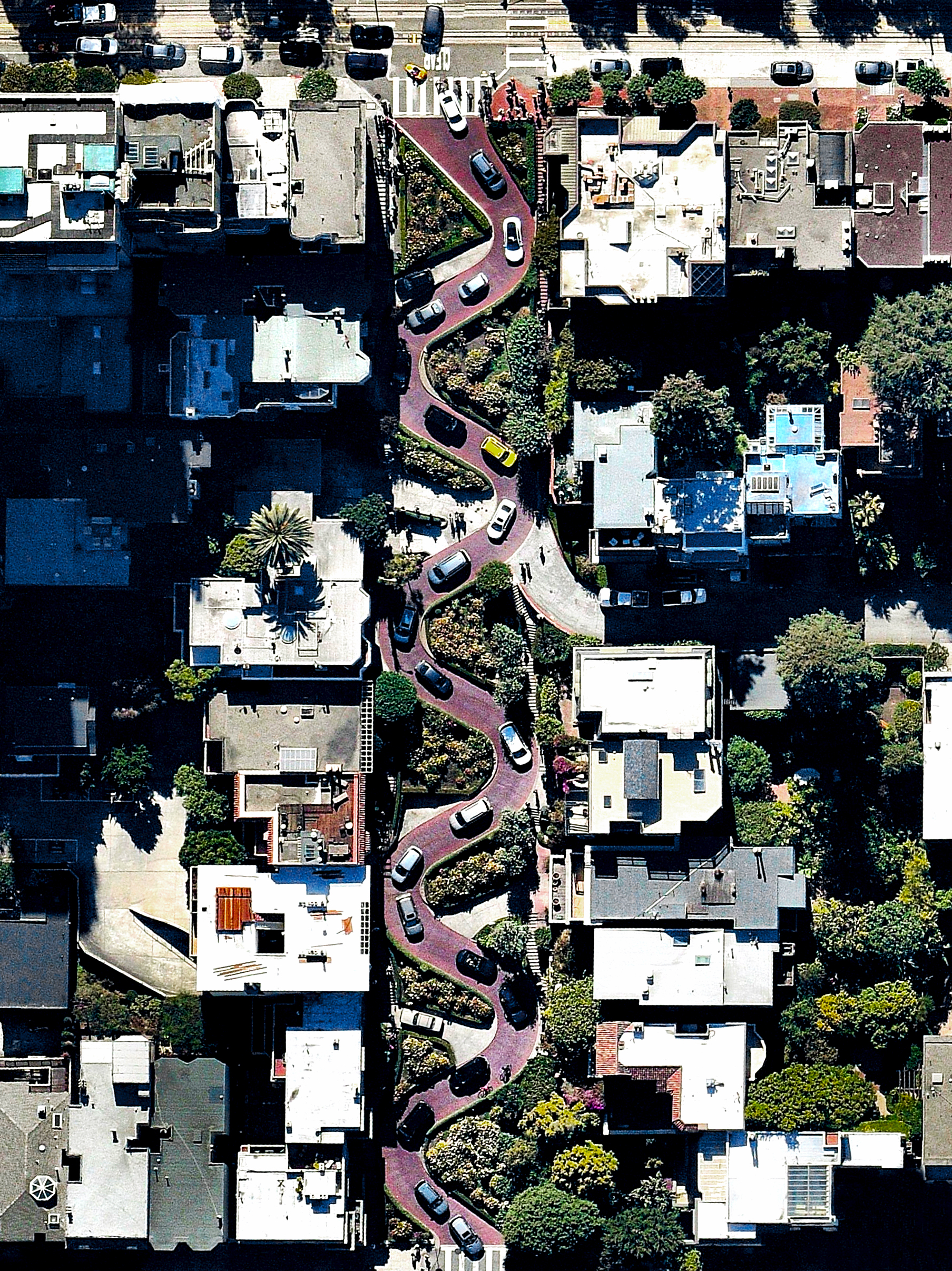 """Cars wind down the hill of Lombard Street, which runs from east to west in San Francisco, California. With eight hairpin turns dispersed over a one-block section in the Russian Hill neighborhood, Lombard is often referred to as """"the most crooked street in the world.""""  37°48'08.3""""N, 122°25'11.1""""W  Source imagery: Nearmap"""